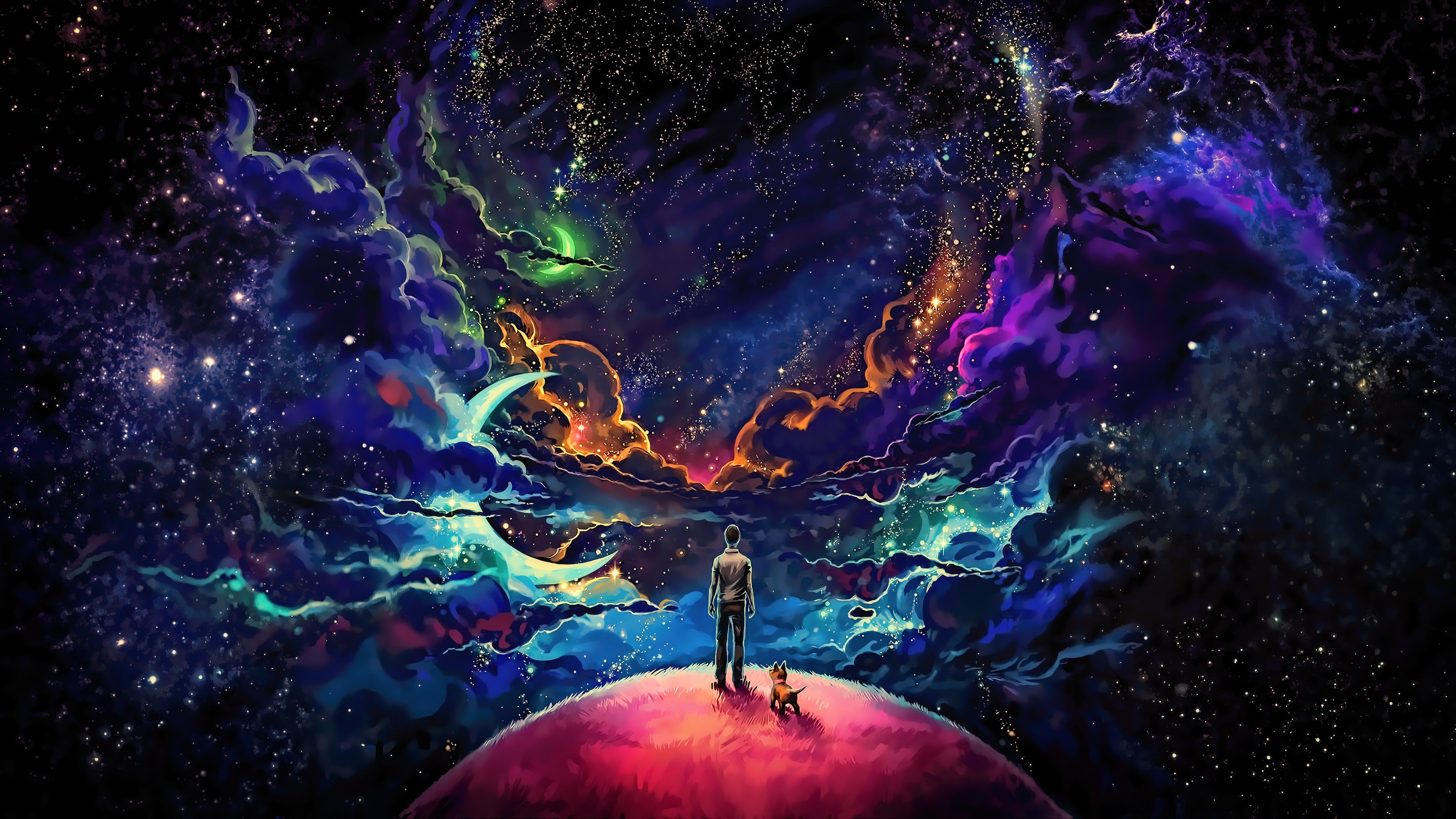Little Prince with Fox - Colorful Science Fiction Fantasy Art wallpaper