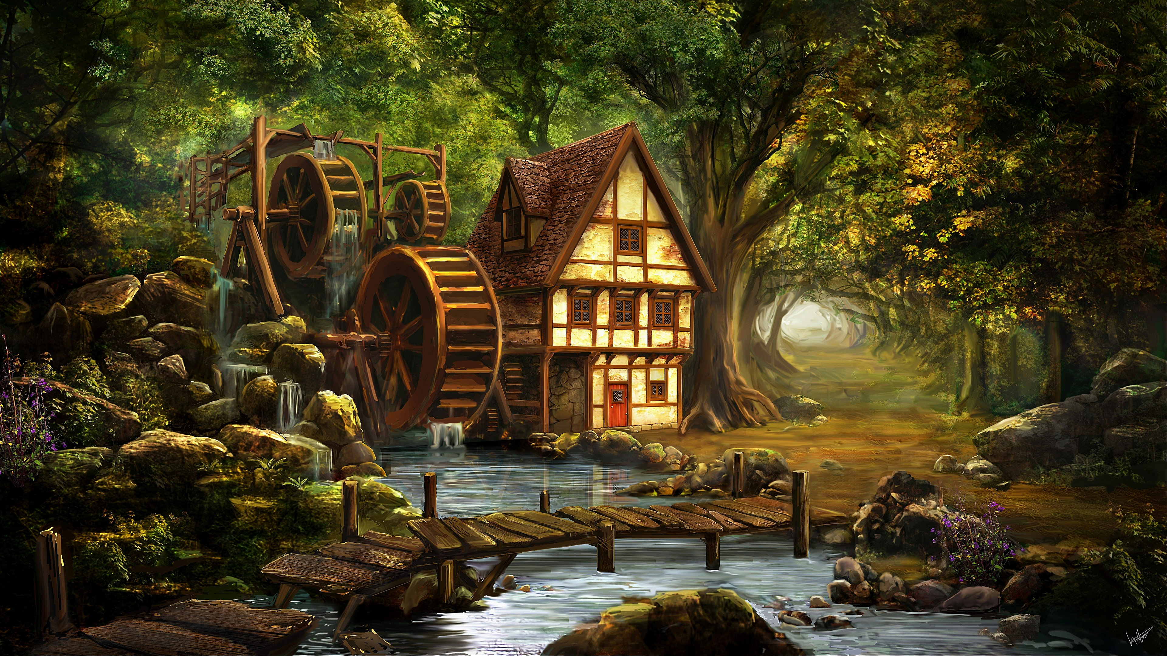 Mill on the river - Painting art wallpaper