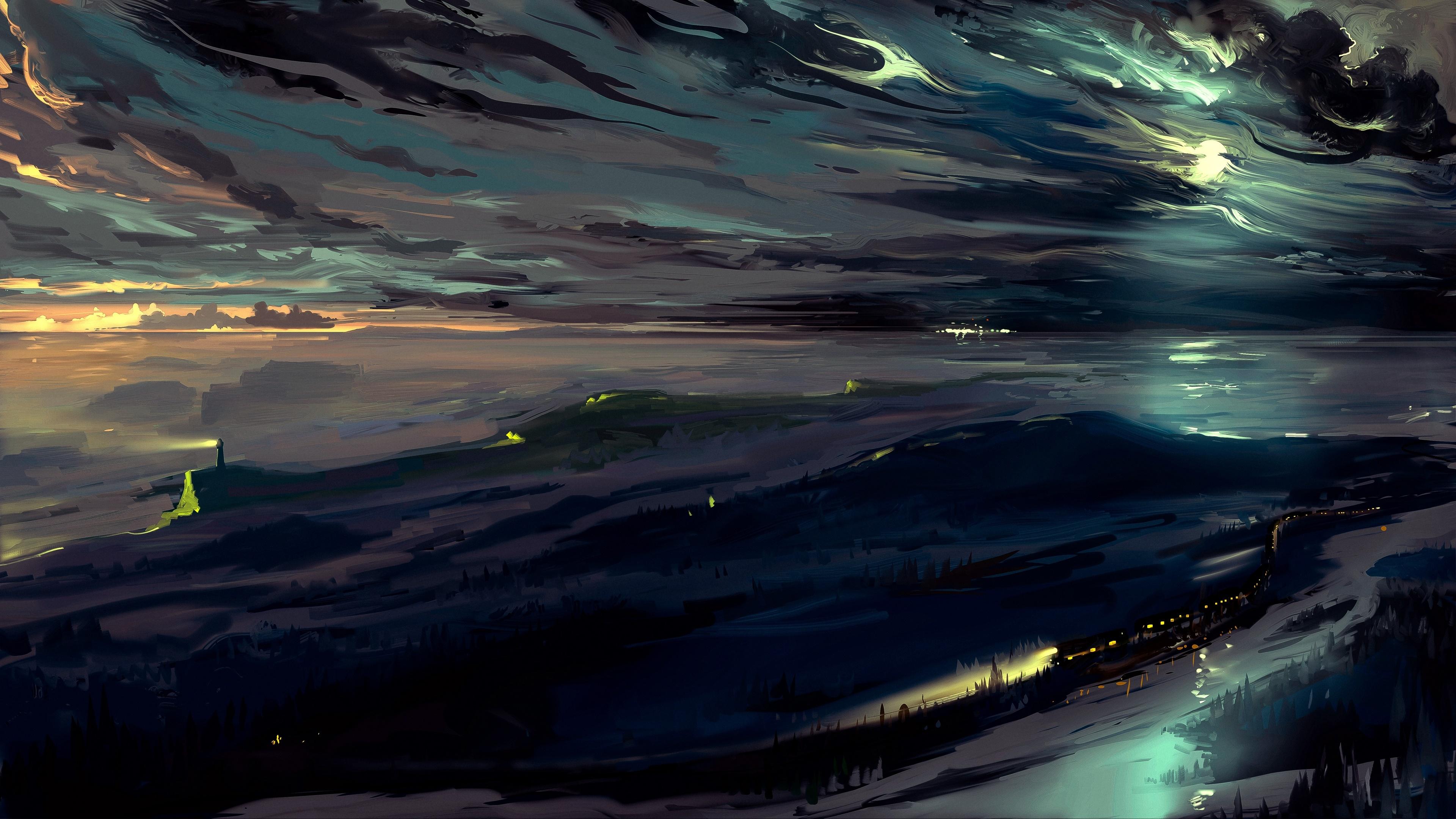 Winter night painting art wallpaper
