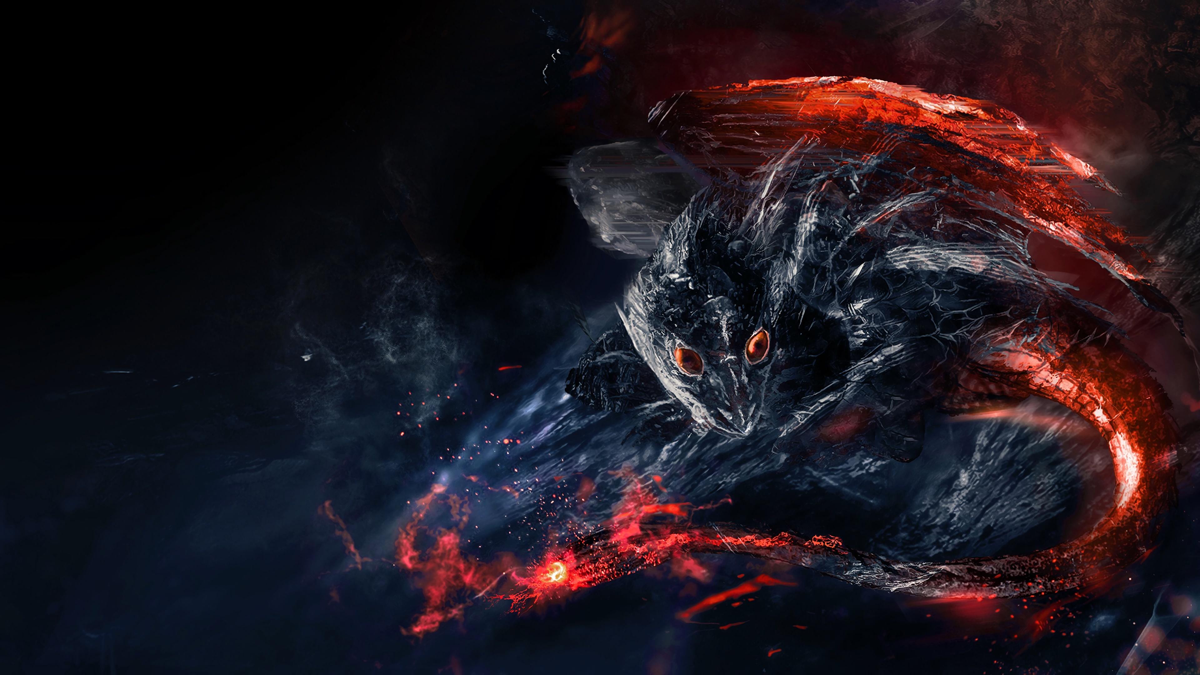 Red-eyed Dragon 4K UltraHD Wallpaper - backiee