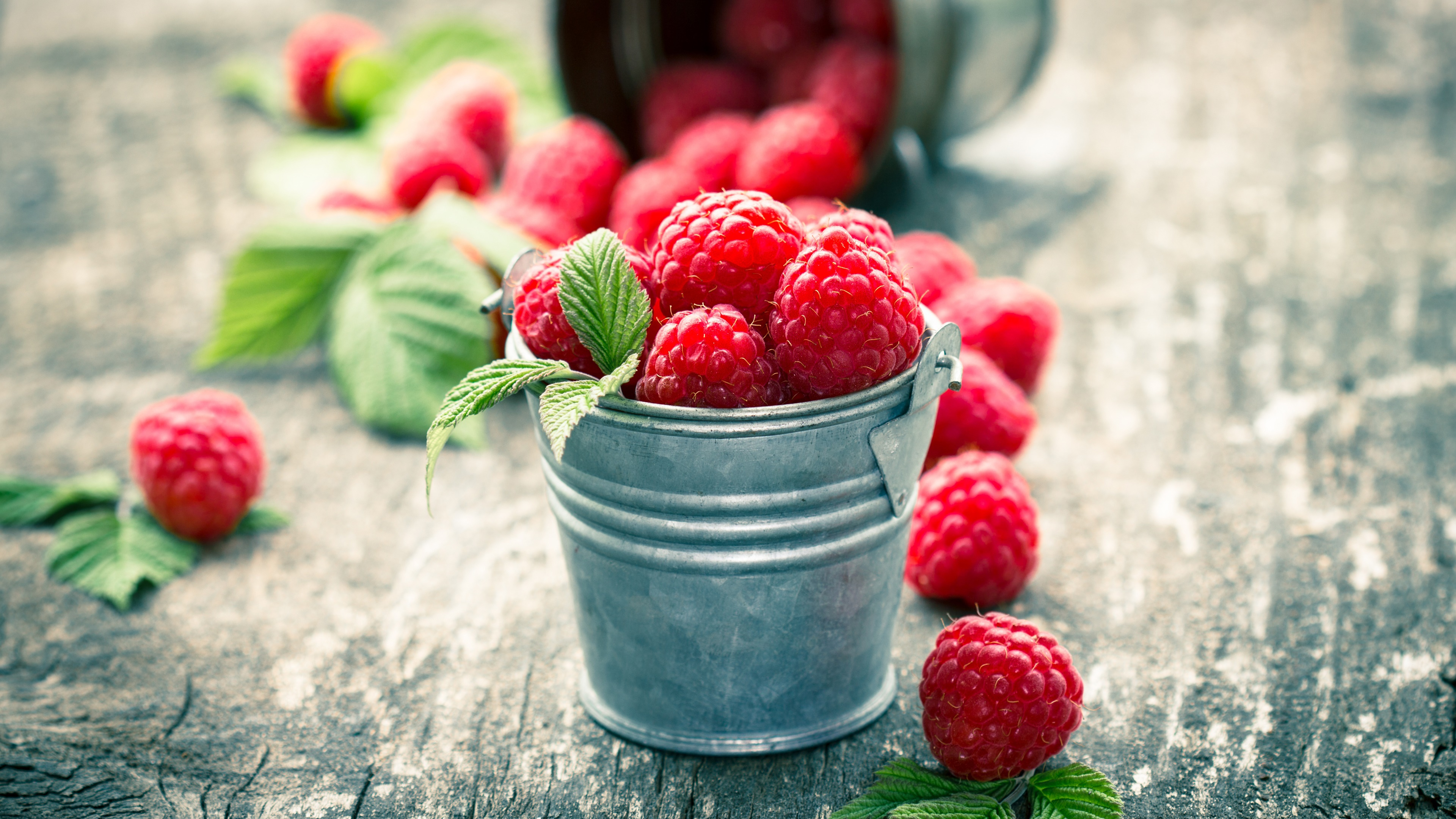 A small bucket of raspberry wallpaper