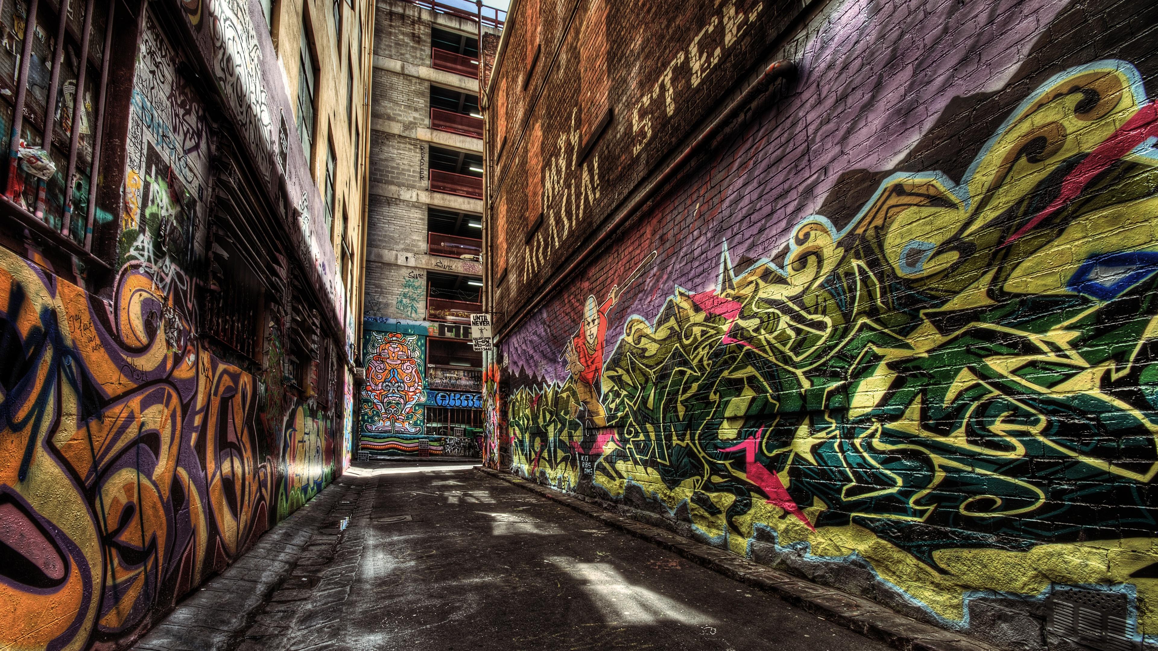 Alley Way Graffiti 4K UltraHD Wallpaper - backiee