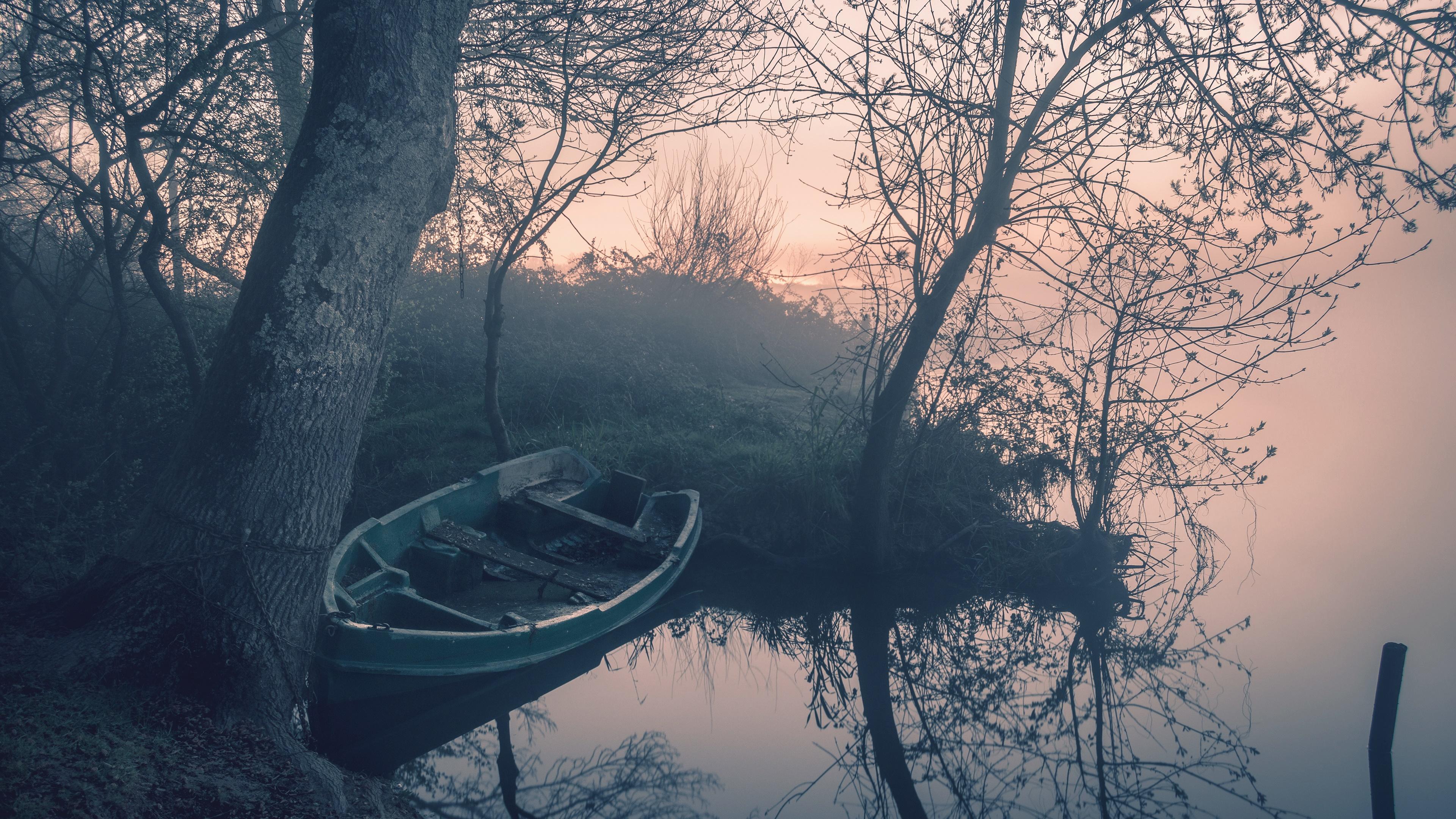 Lakeside on a misty dawn wallpaper