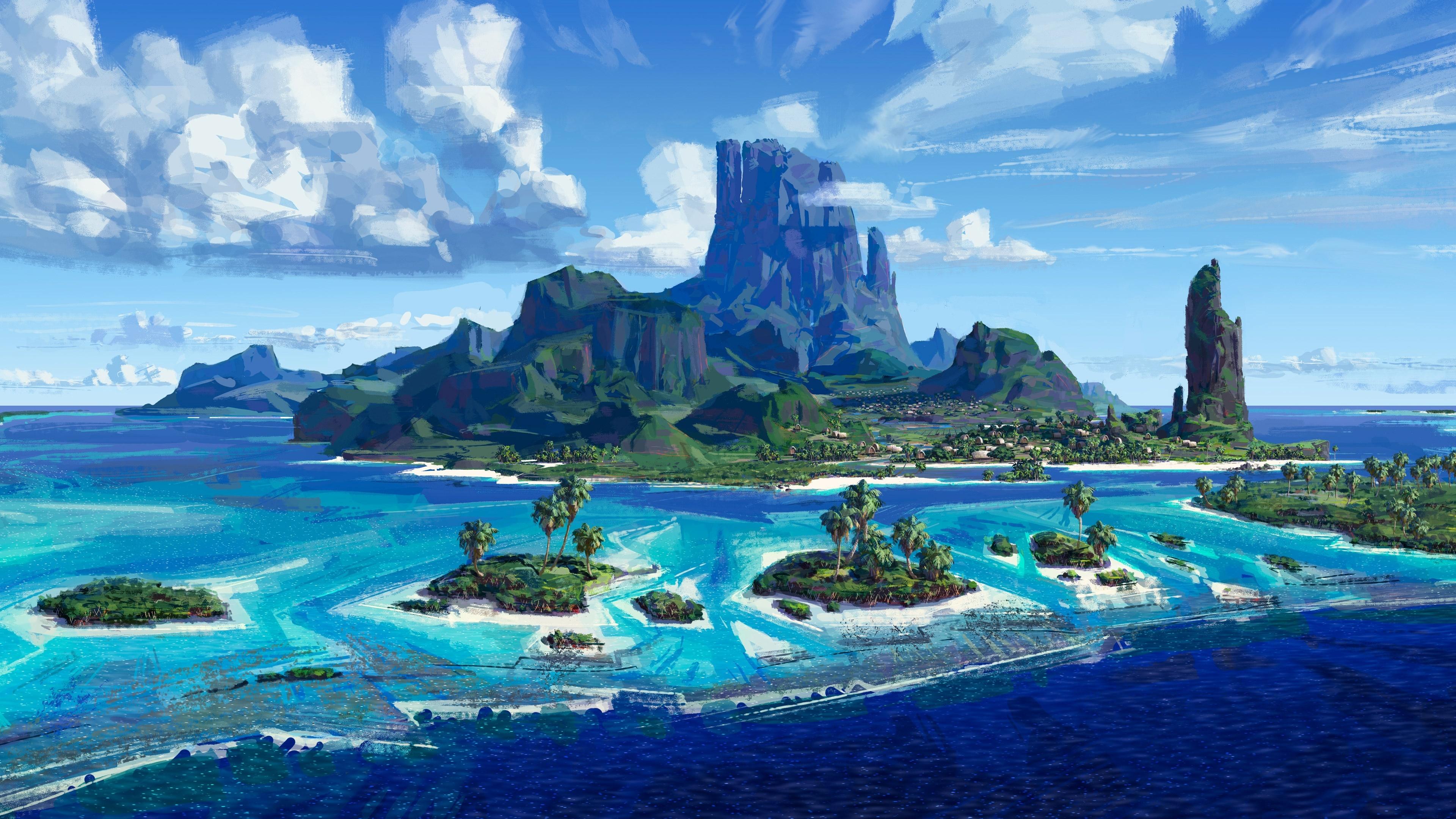 Tropical landscape - Fantasy art wallpaper