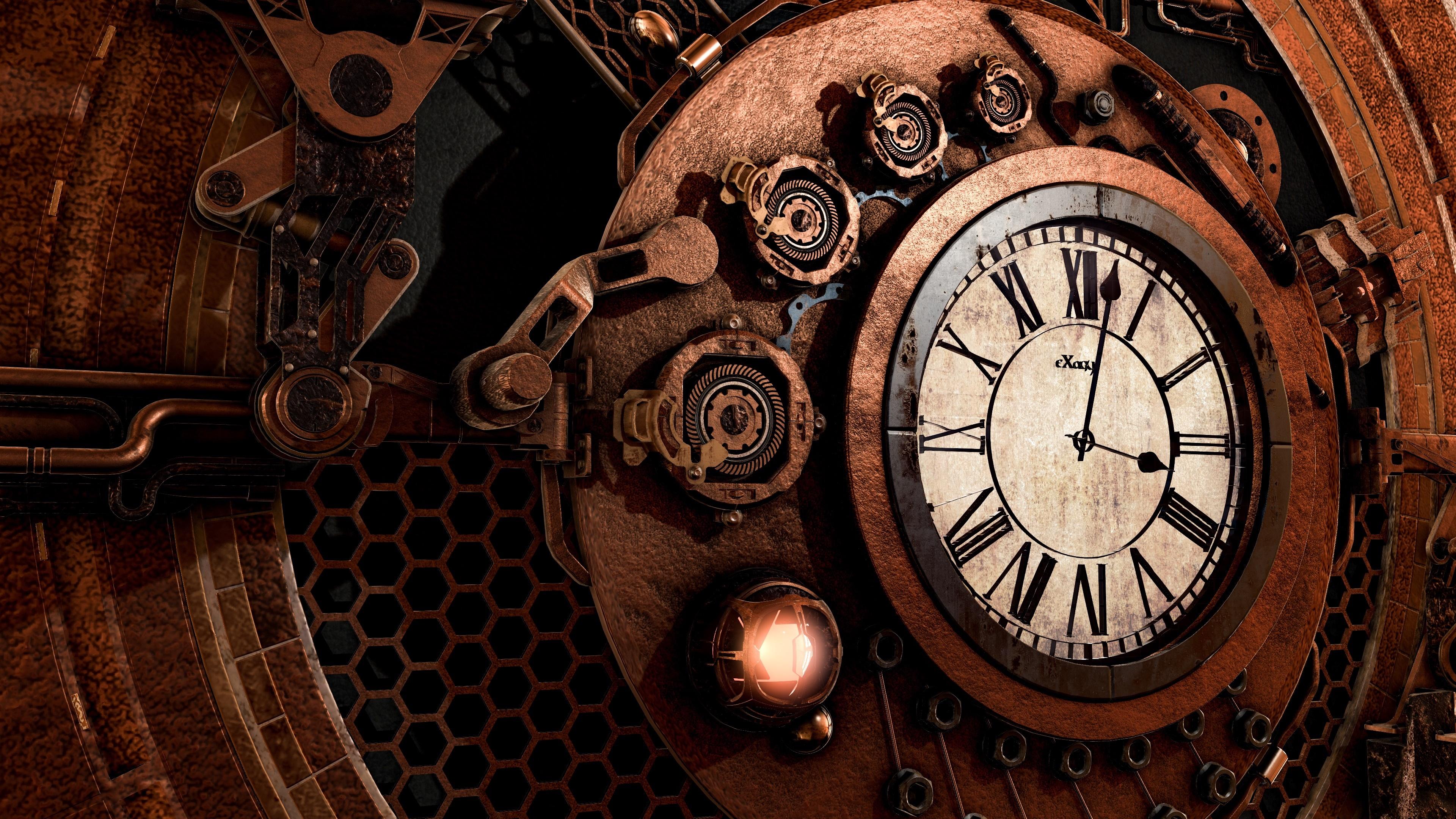 Steampunk clock wallpaper