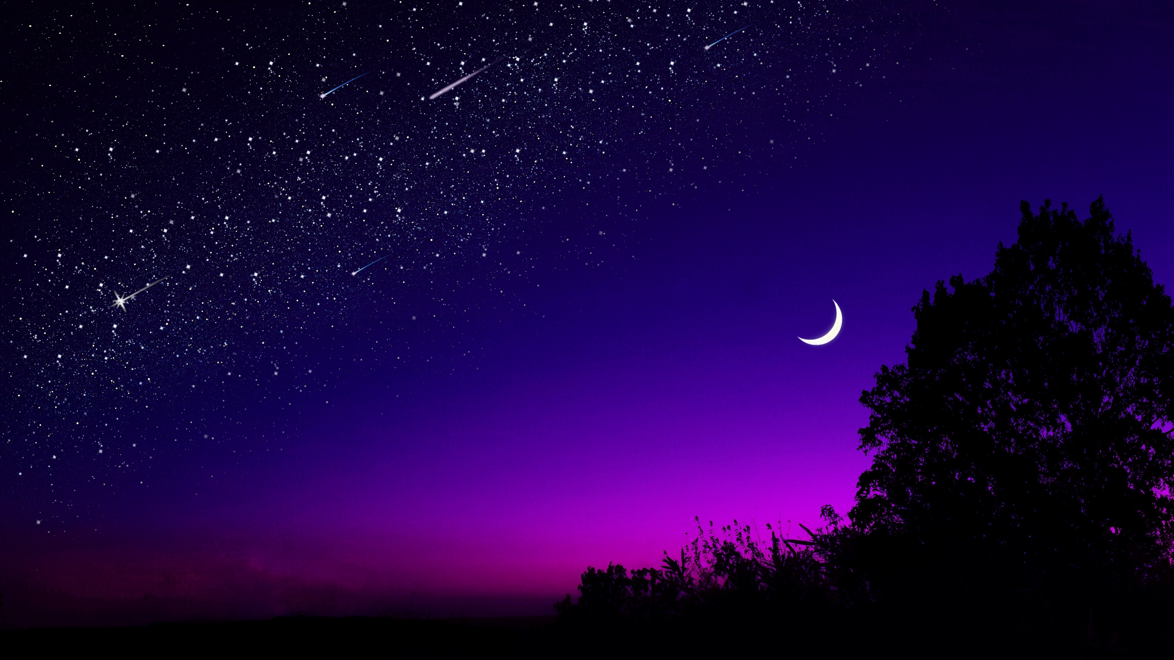 Crescent and shooting stars wallpaper