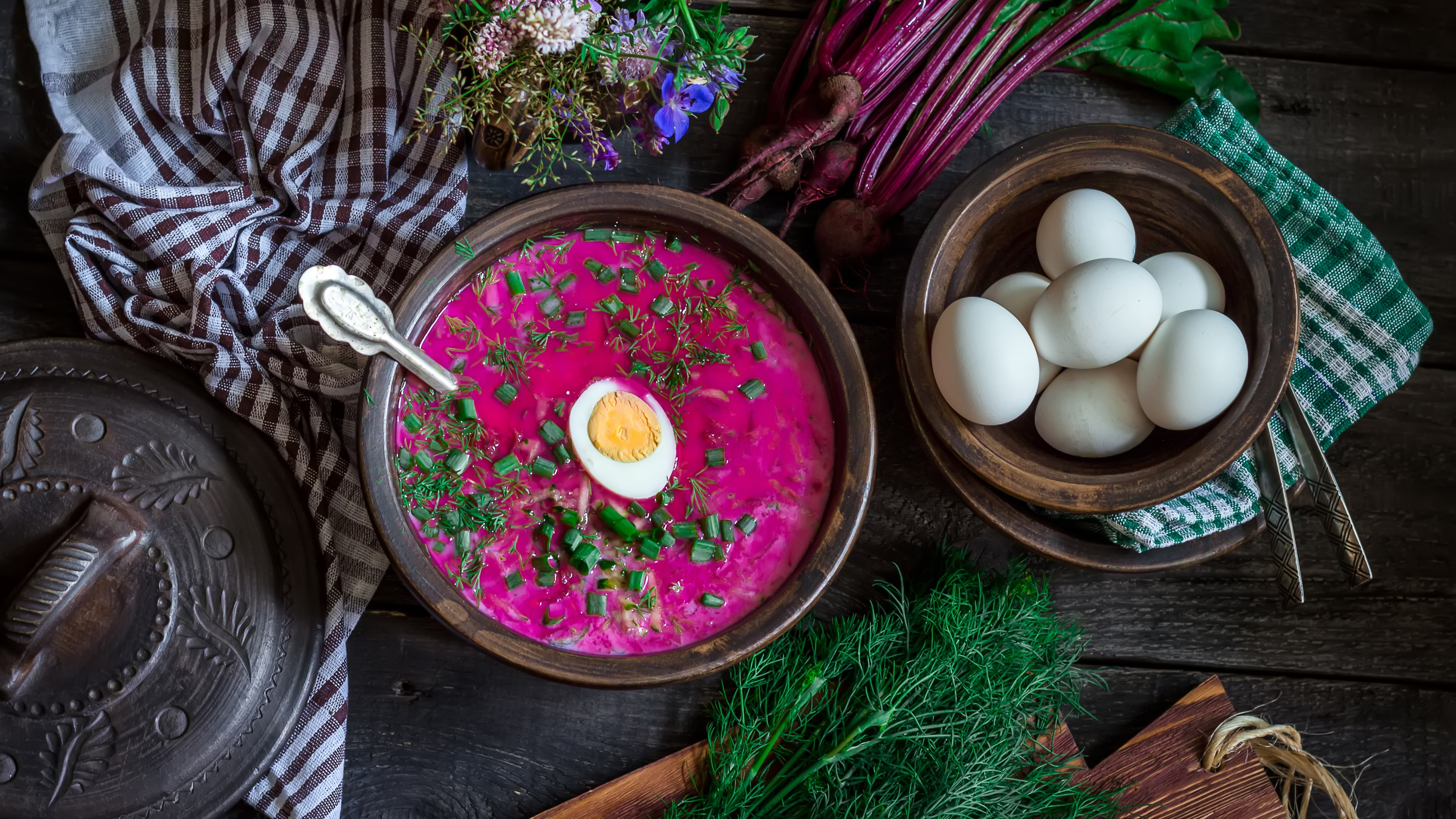 Beetroot soup with boiled egg wallpaper
