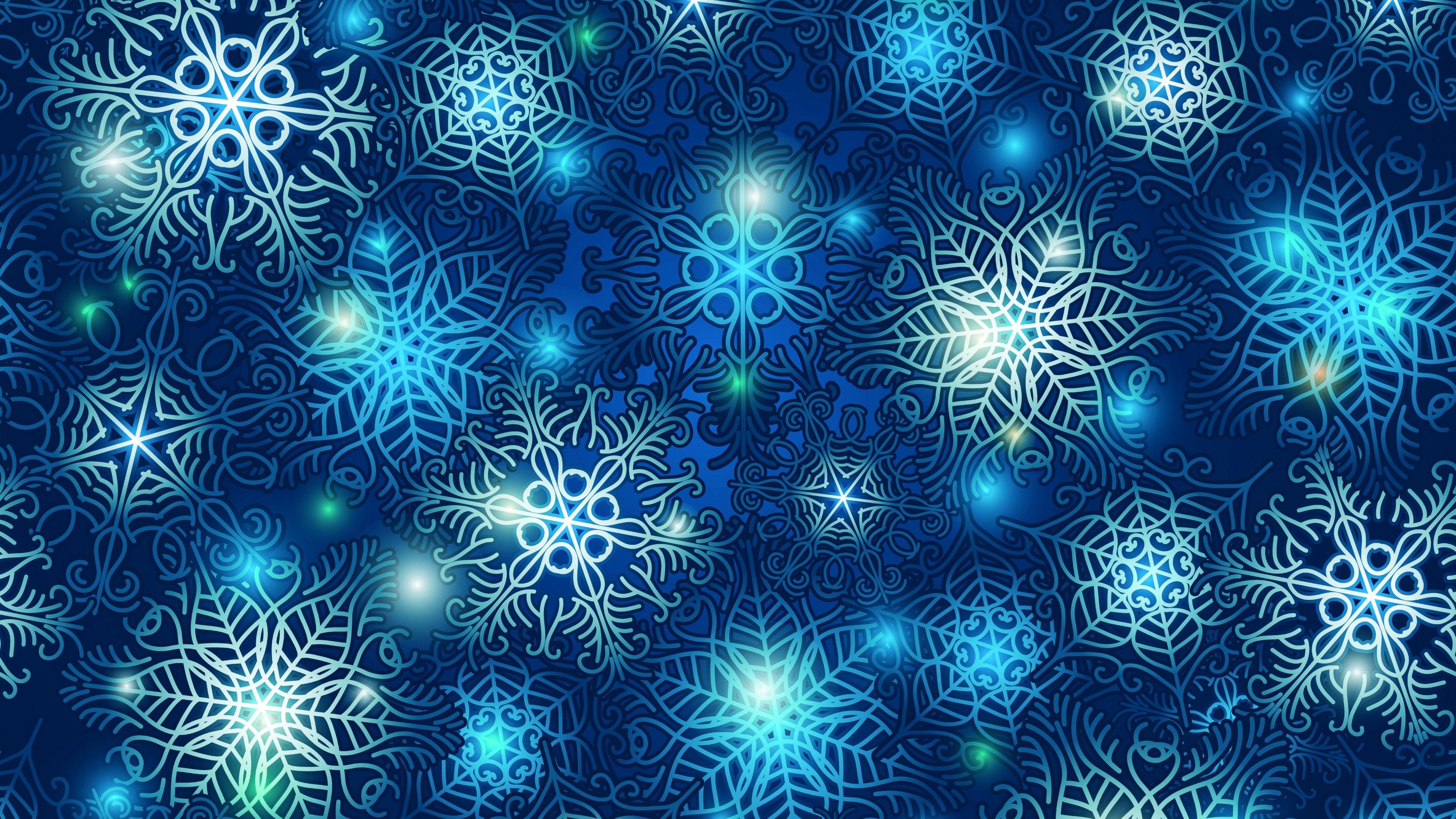 Blue snowflake pattern wallpaper