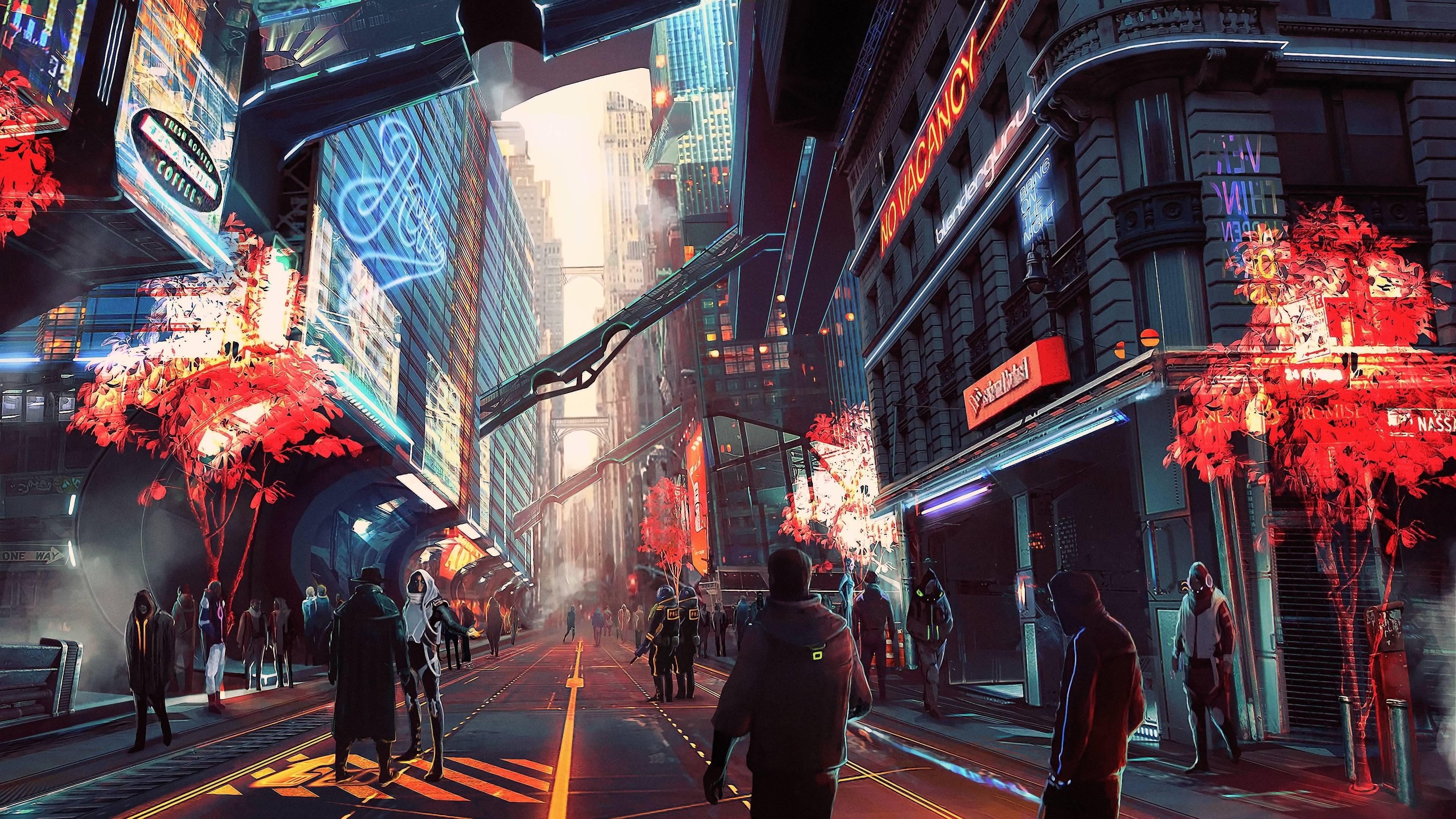 Futuristic anime city wallpaper - backiee