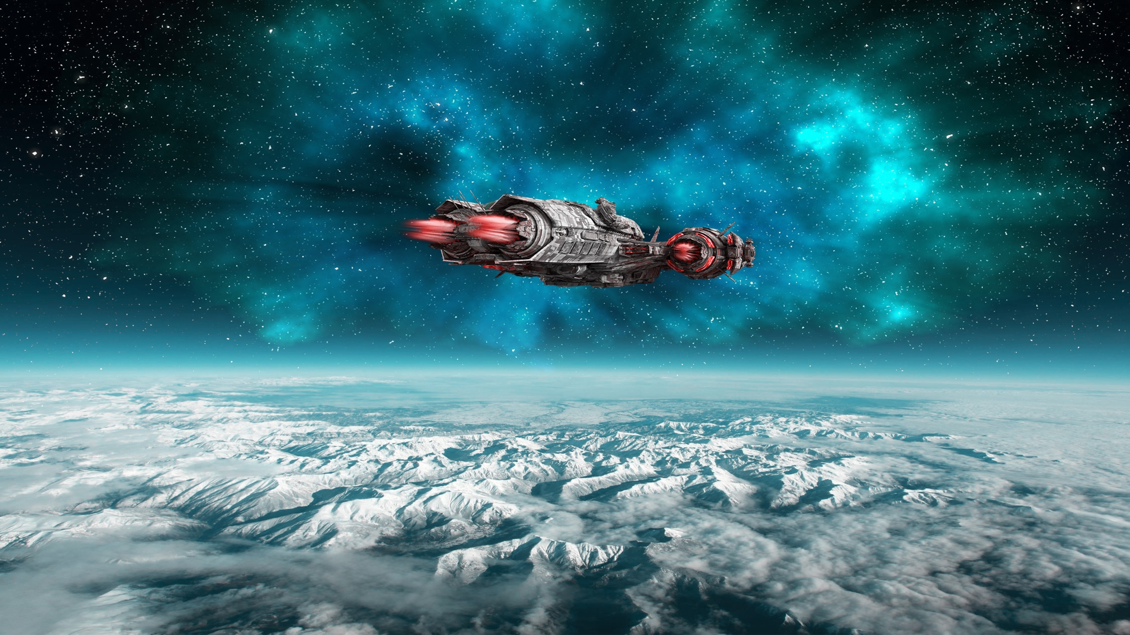 Spaceship sci-fi art wallpaper