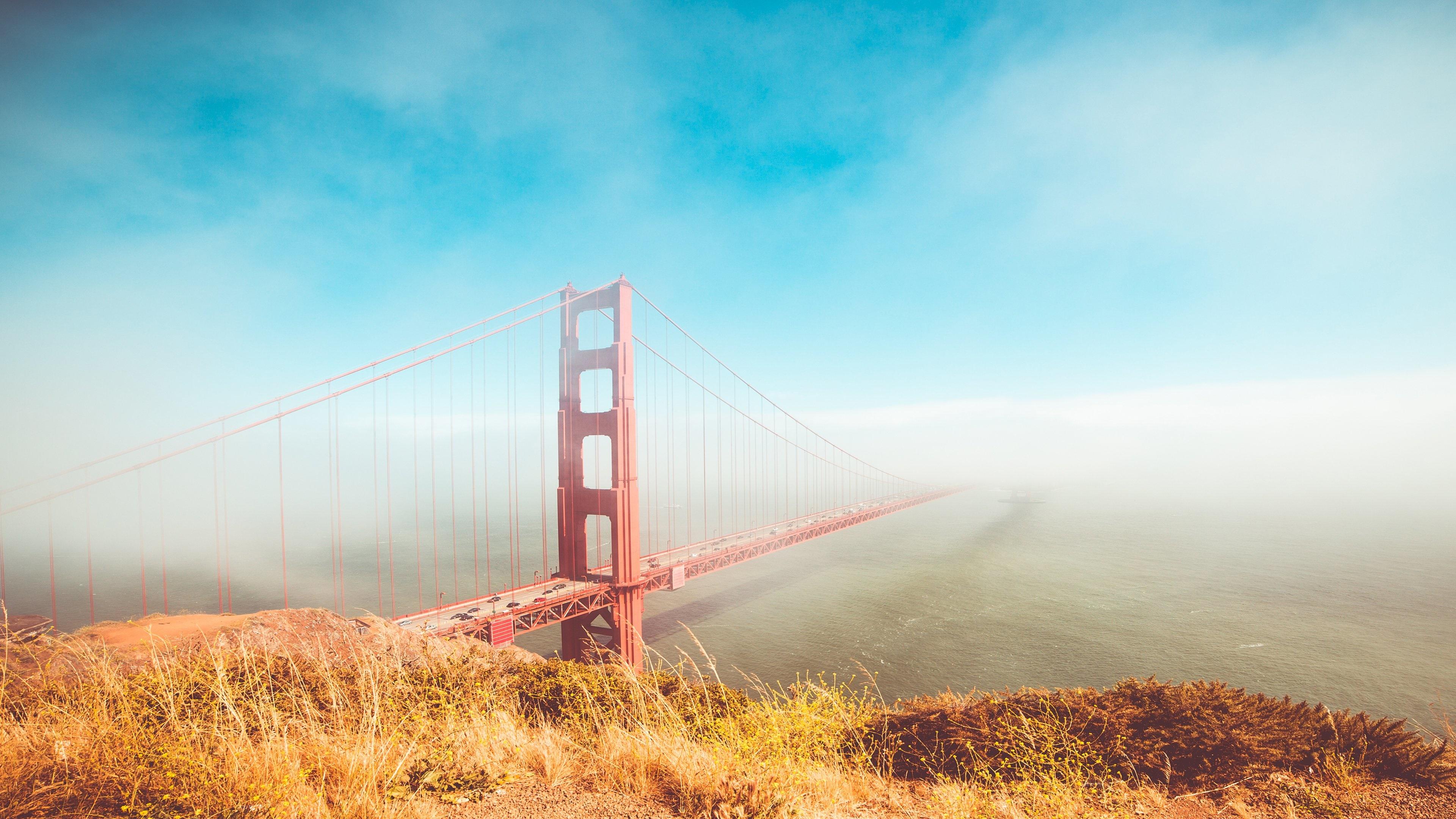 Golden Gate Bridge In Mist 4k Ultrahd Wallpaper Backiee