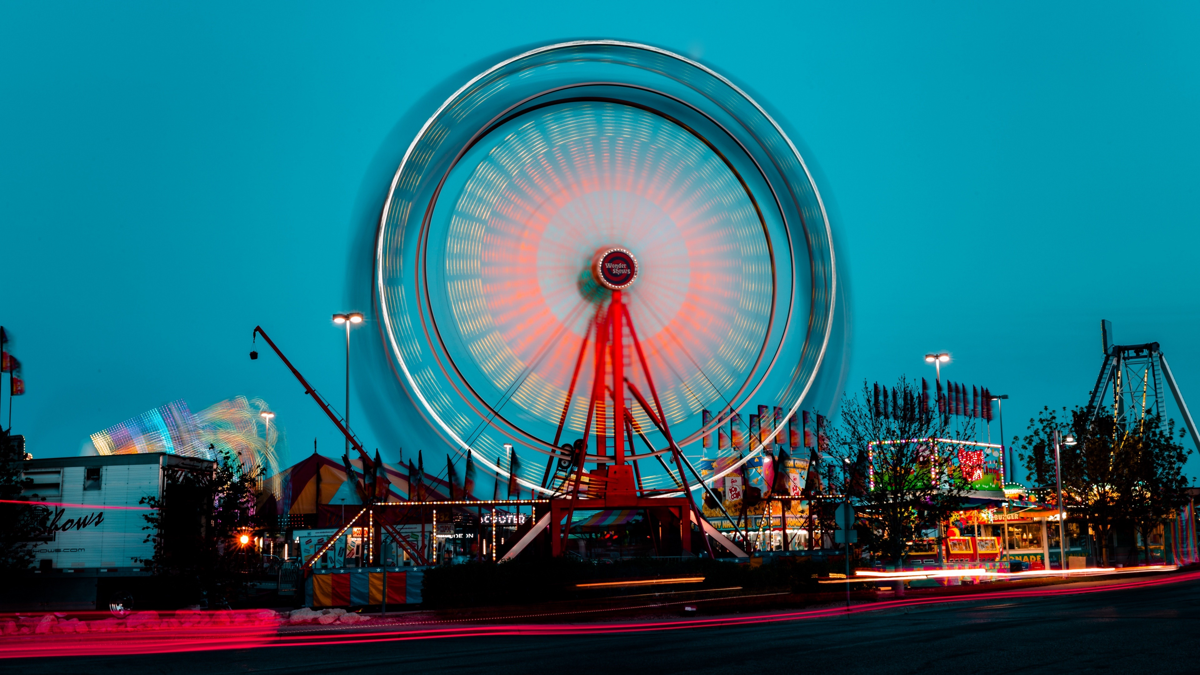 Ferris wheel long exposure photography wallpaper