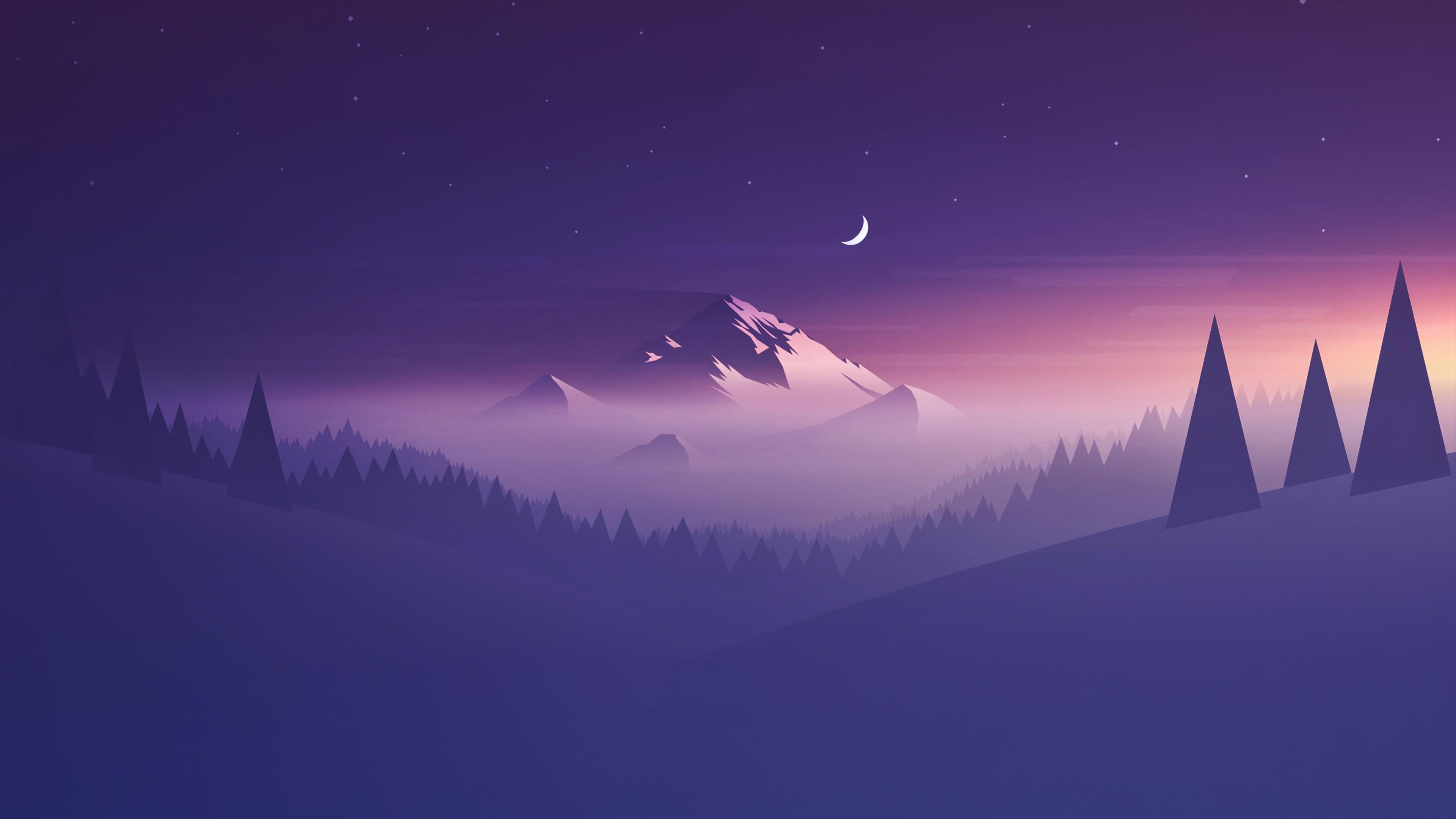 Purple minimal winter night landscape wallpaper