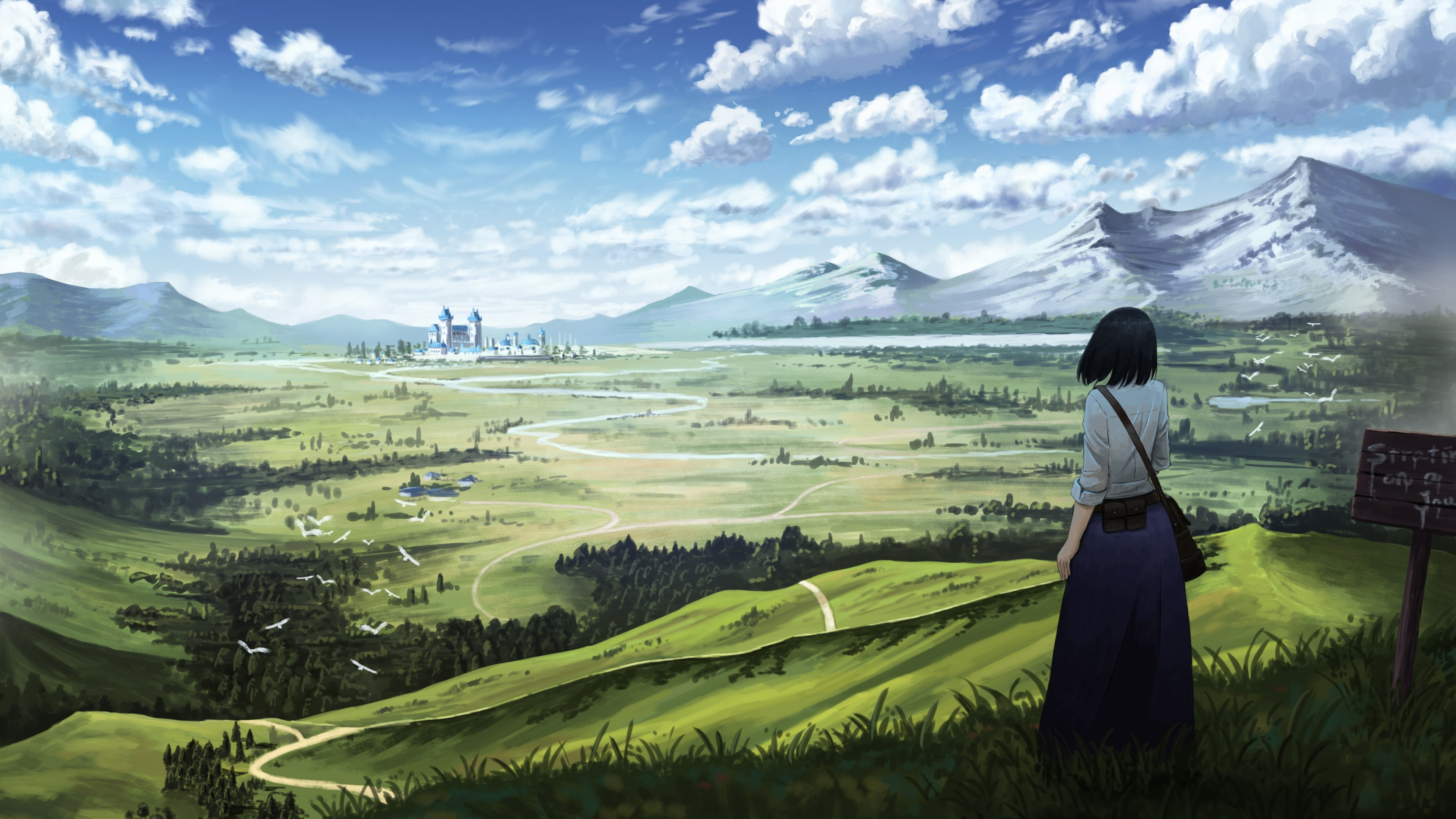 Castle in the distance anime landscape wallpaper