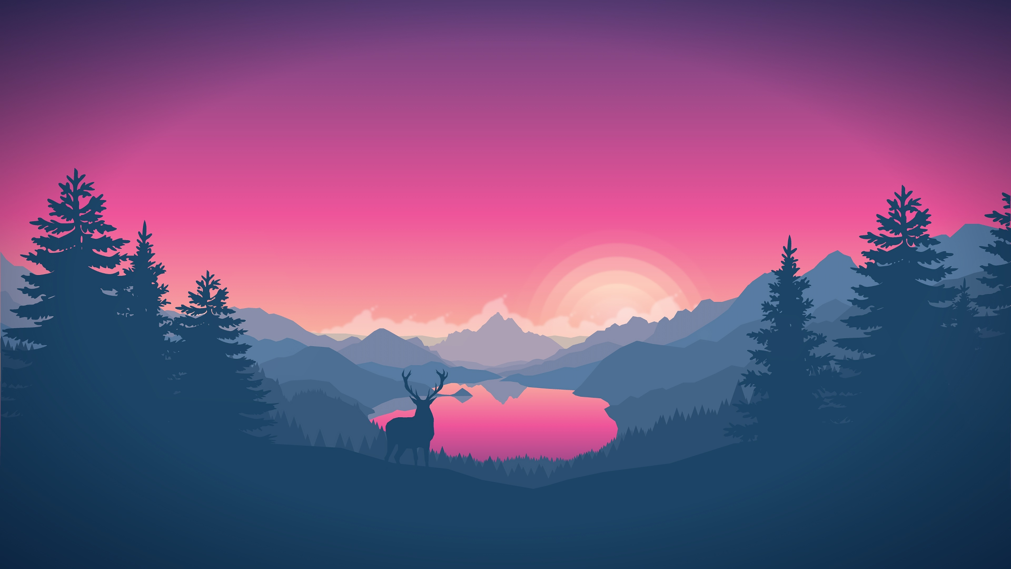 Pink sunrise in the mountains minimal landscape wallpaper