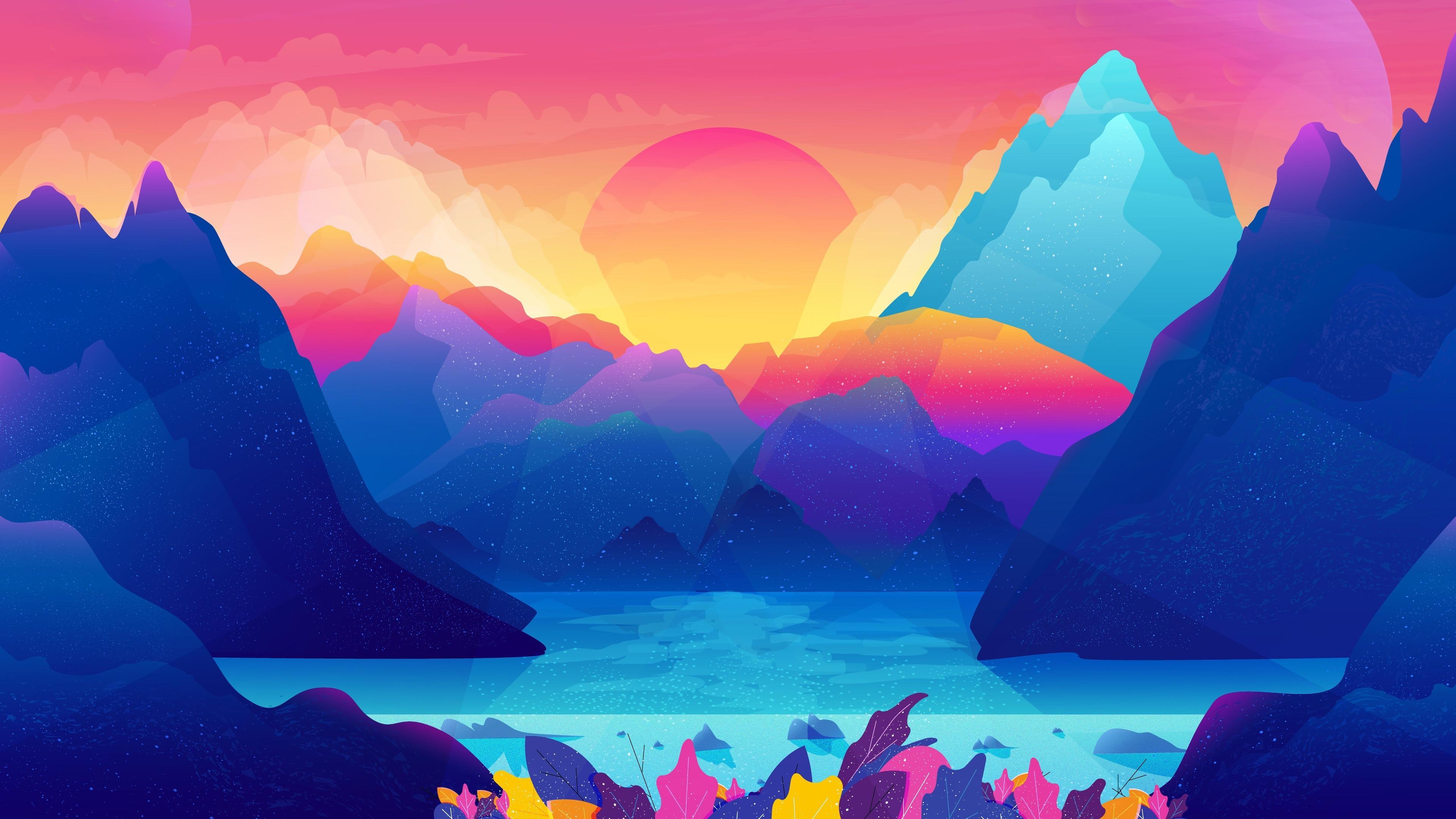 Colorful fjord digital art wallpaper