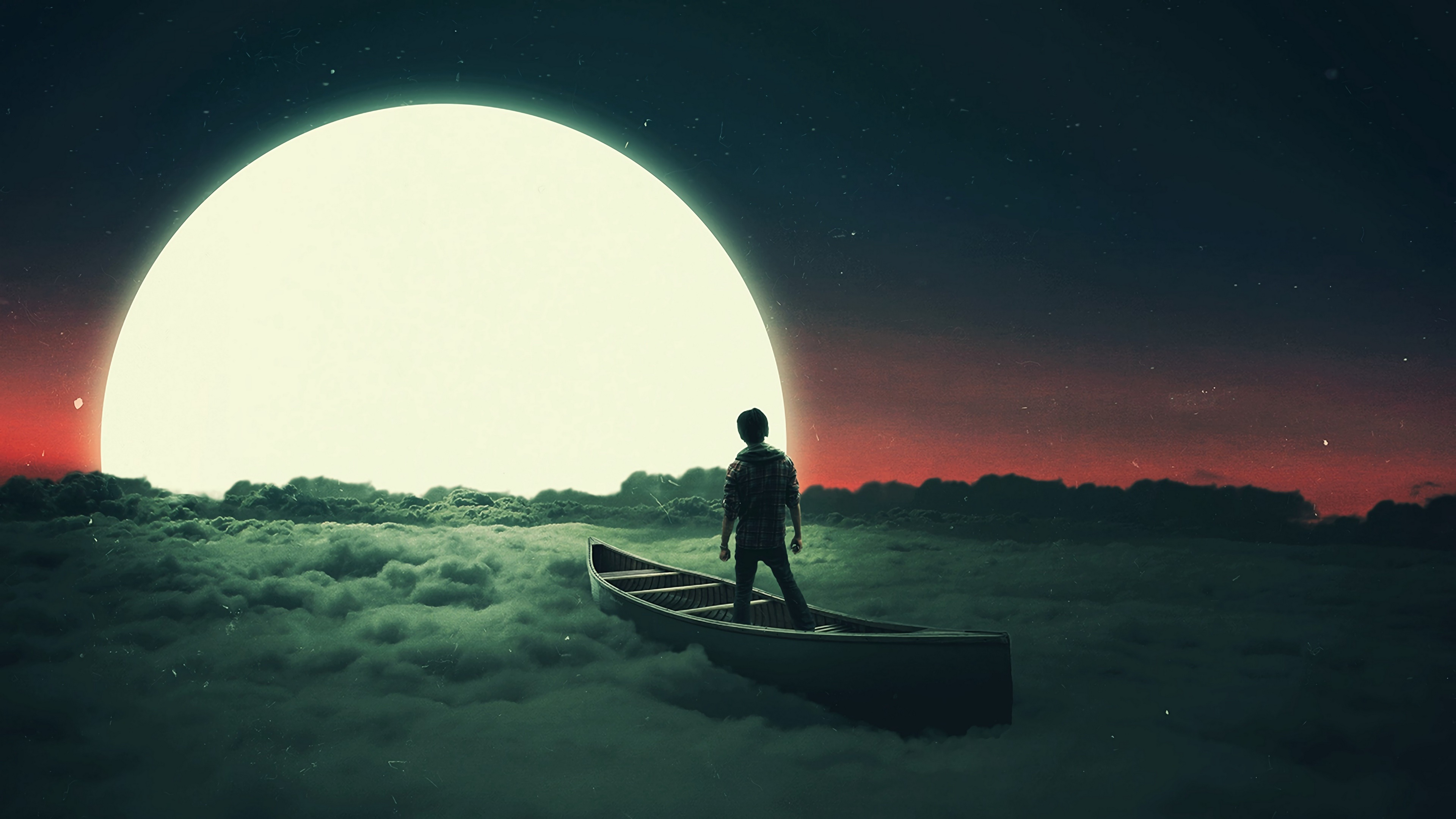 Boating on the sea of clouds at full moon wallpaper