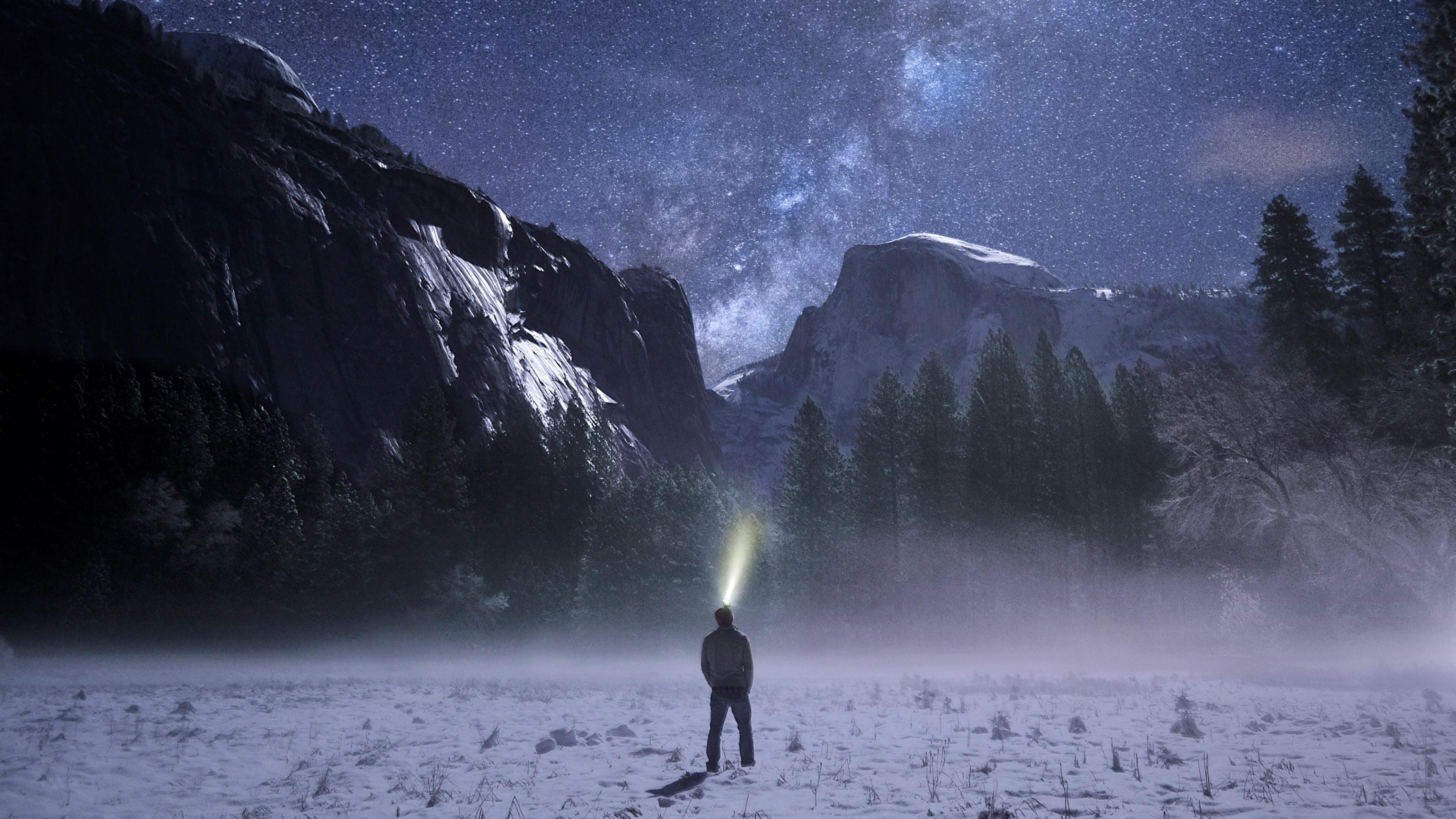 Man with headlight at Yosemite Valley wallpaper