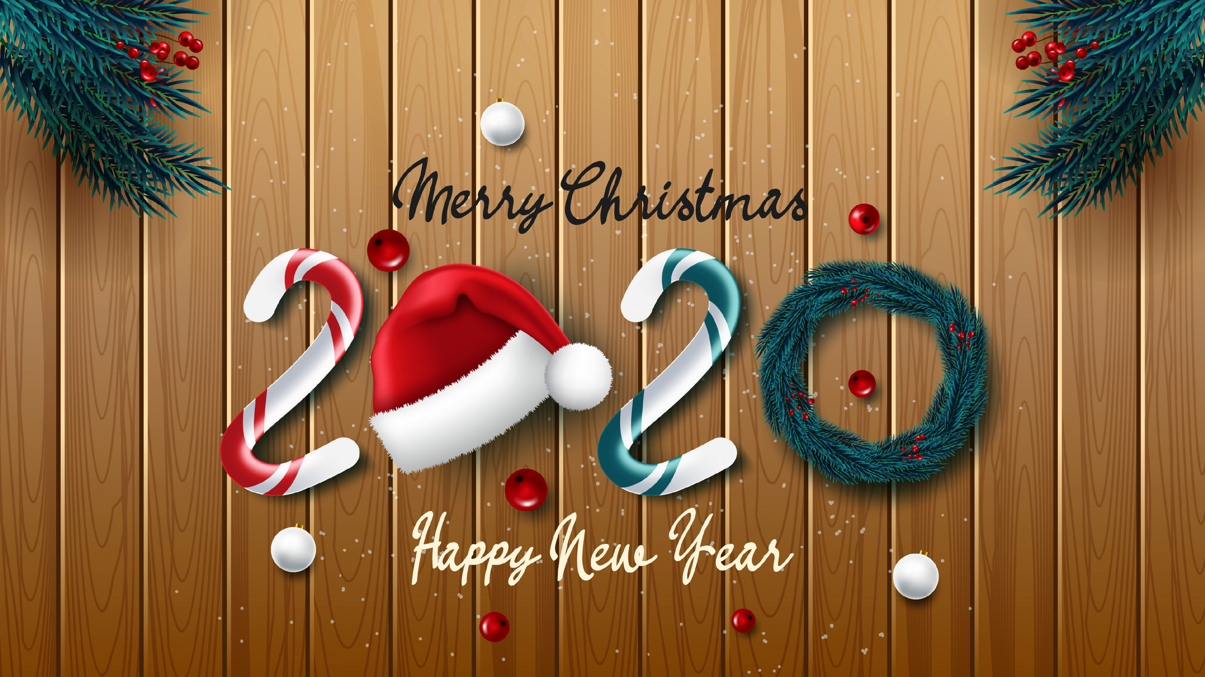 2020 Merry Christmas and Happy New Year wallpaper