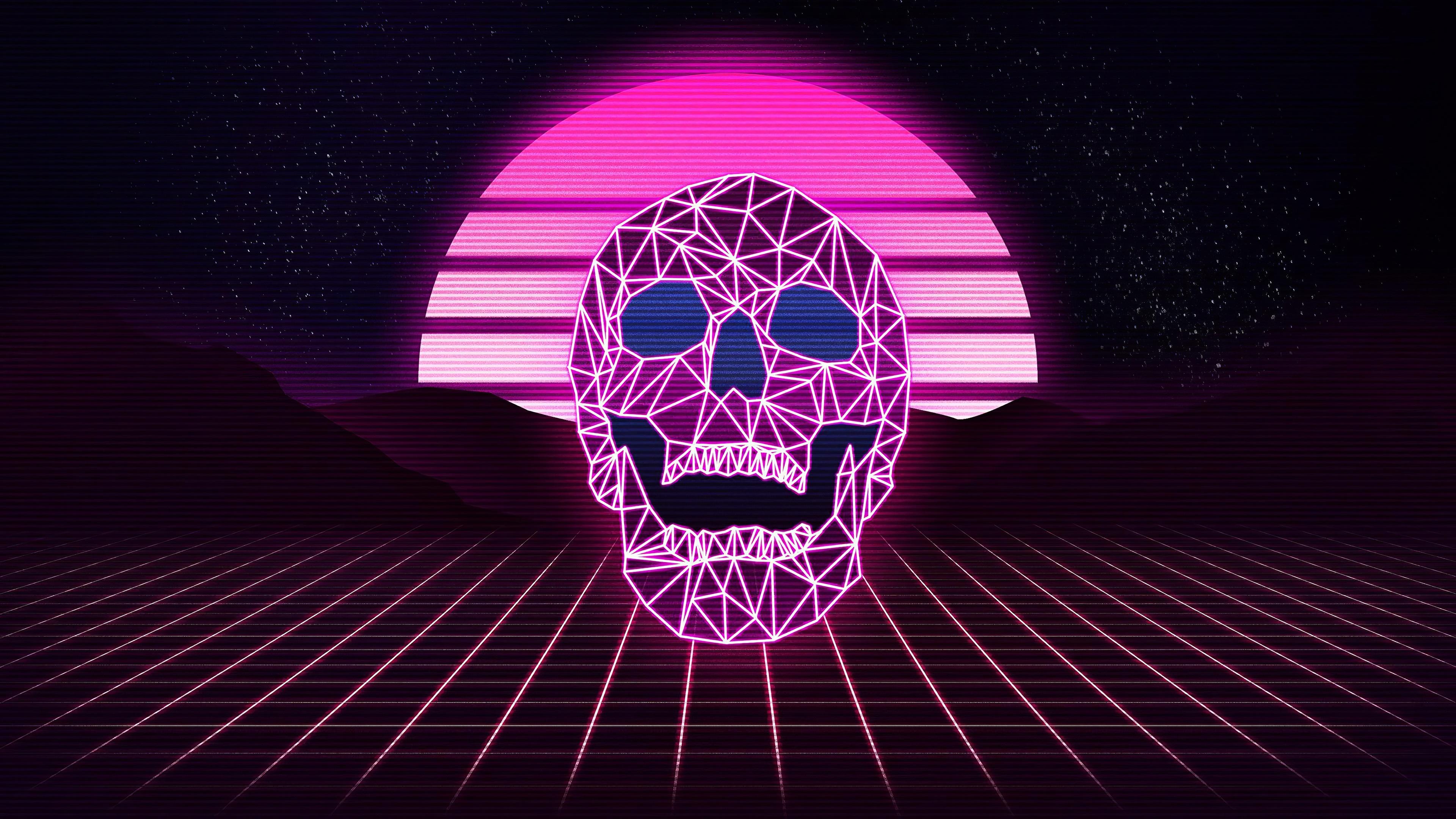 Synthwave skull wallpaper