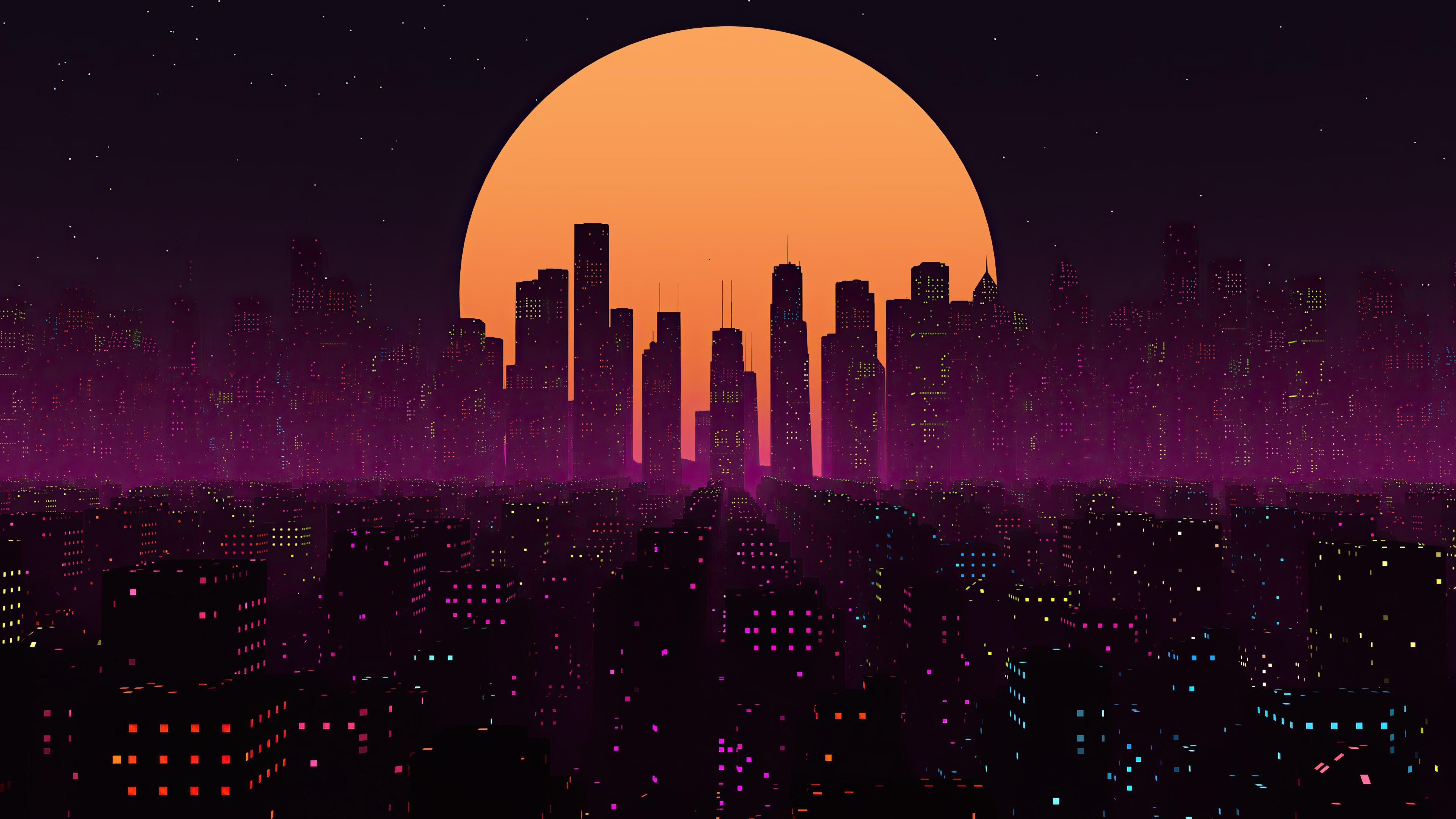Retrowave City Sunset wallpaper