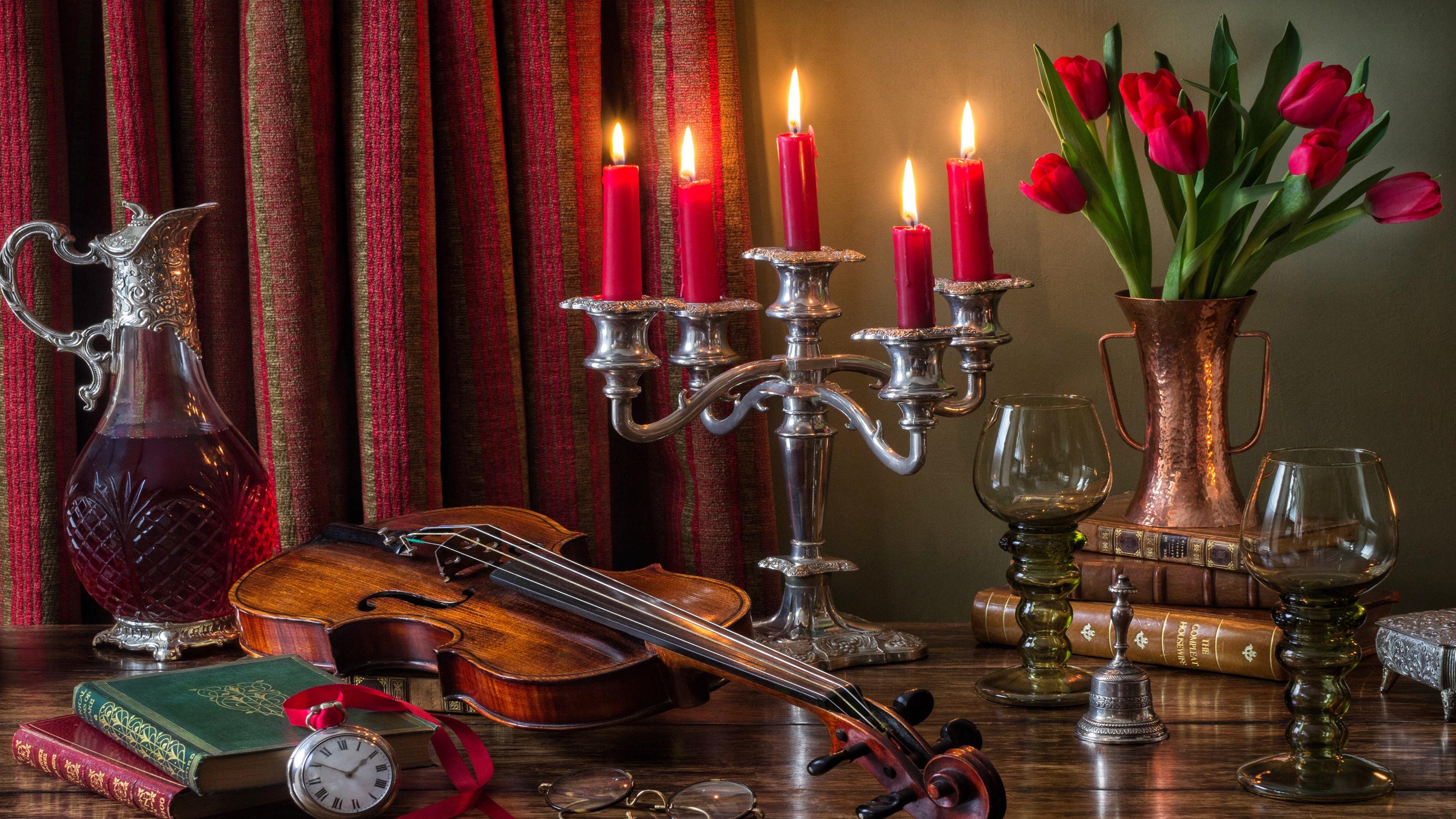 Violin still life photography wallpaper