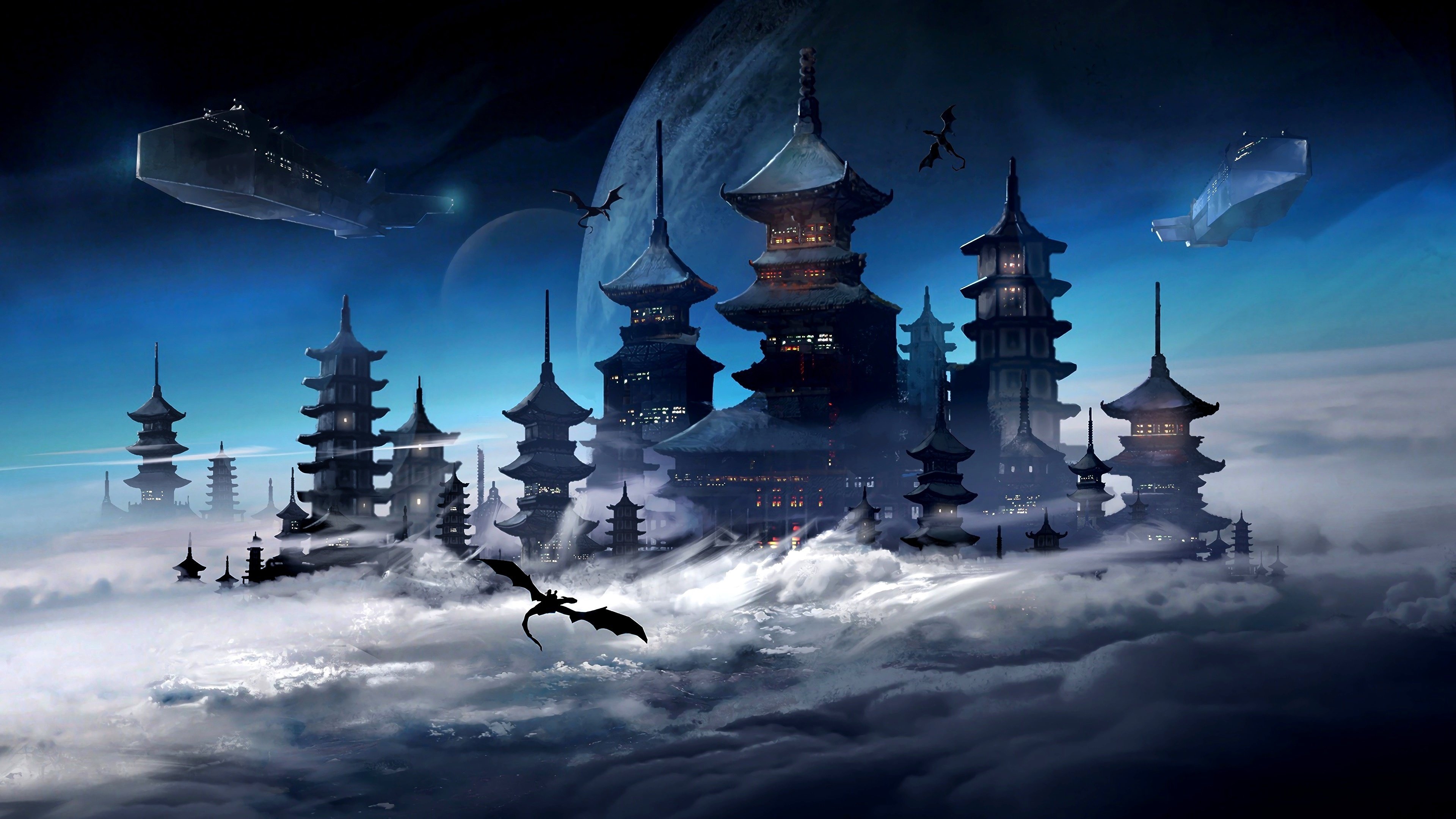 Japanese castle above the clouds wallpaper