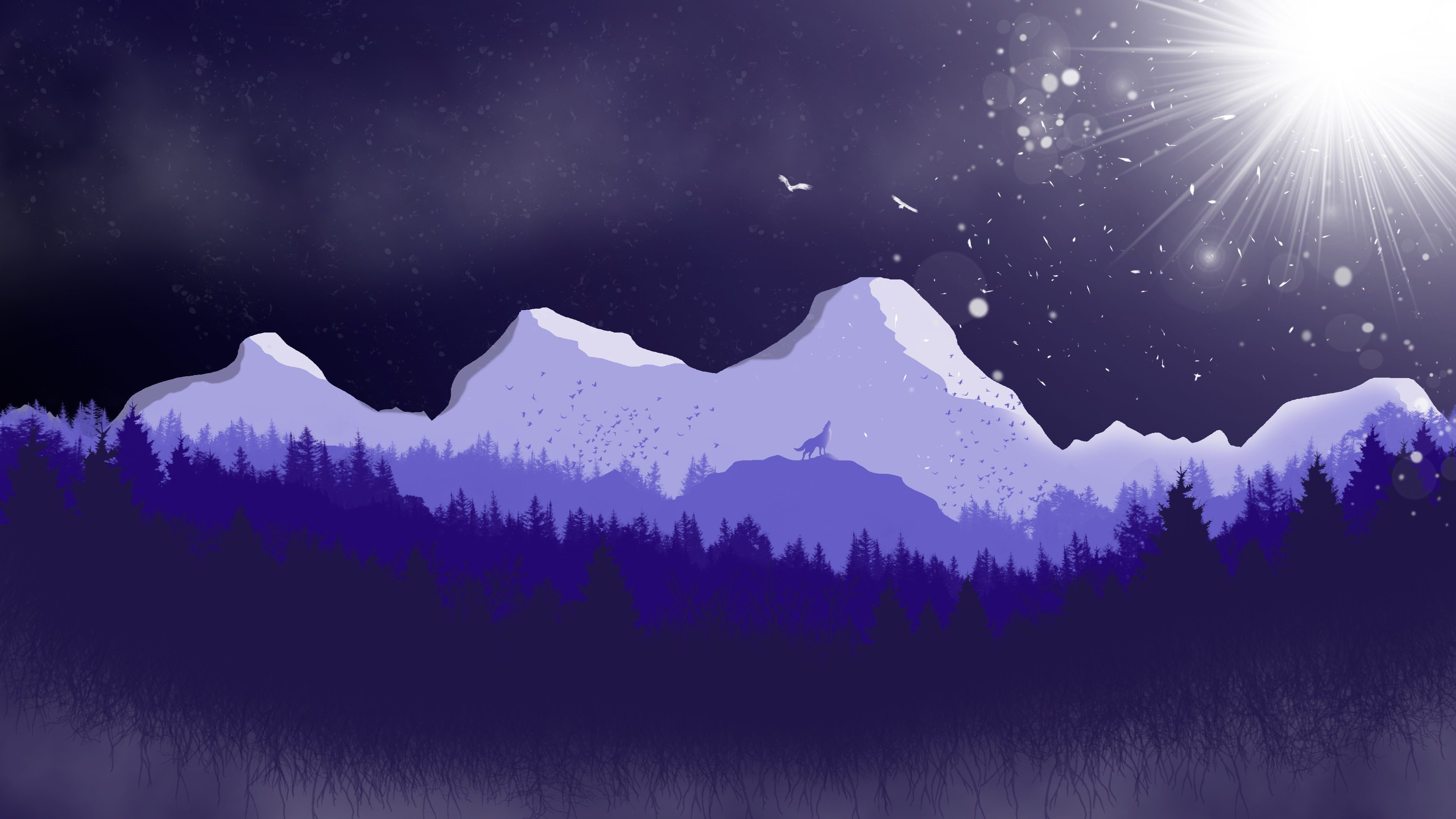 Wolf howling in the forest wallpaper