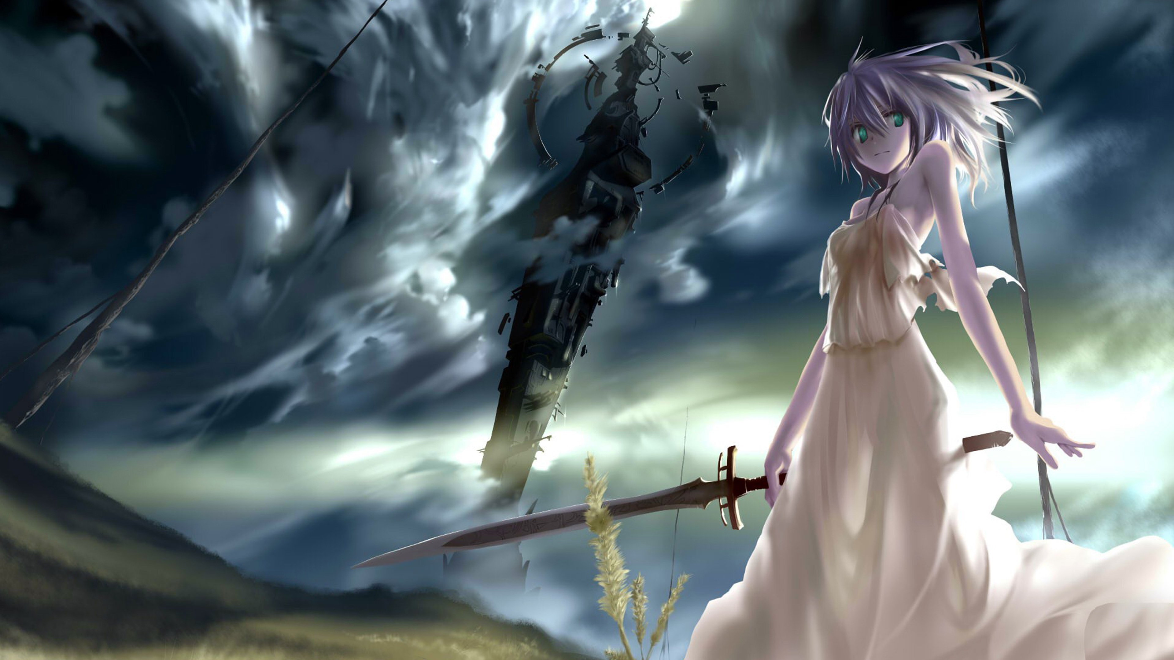 Psycho anime girl with sword wallpaper