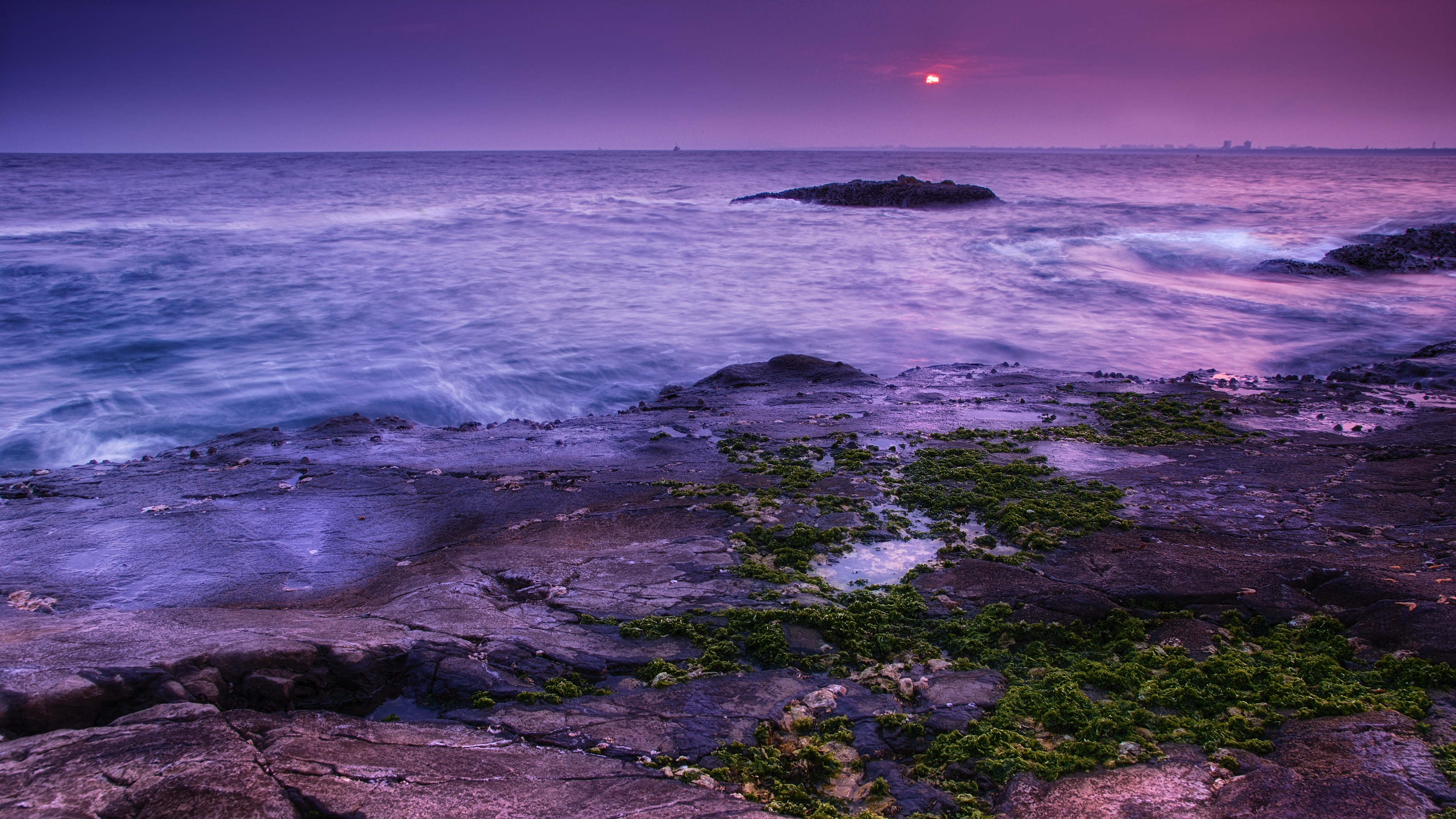 Purple seascape from Enoshima wallpaper
