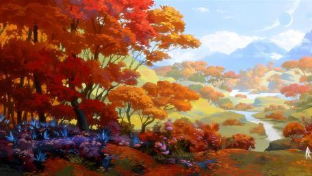 Fall digital painting wallpaper
