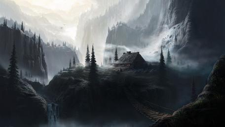 House in the misty mountains digital painting wallpaper