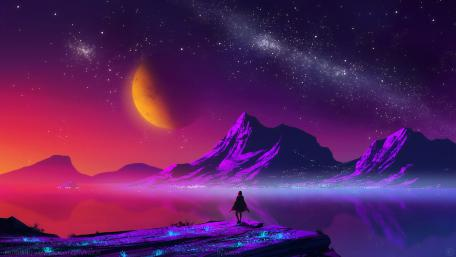 Purple mountains digital lanescape wallpaper