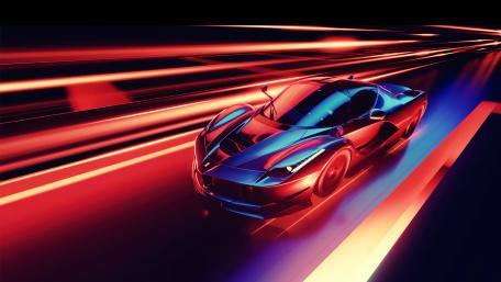 Neon Ferrari wallpaper