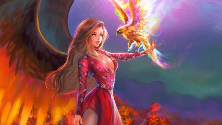 Angel with Phoenix wallpaper