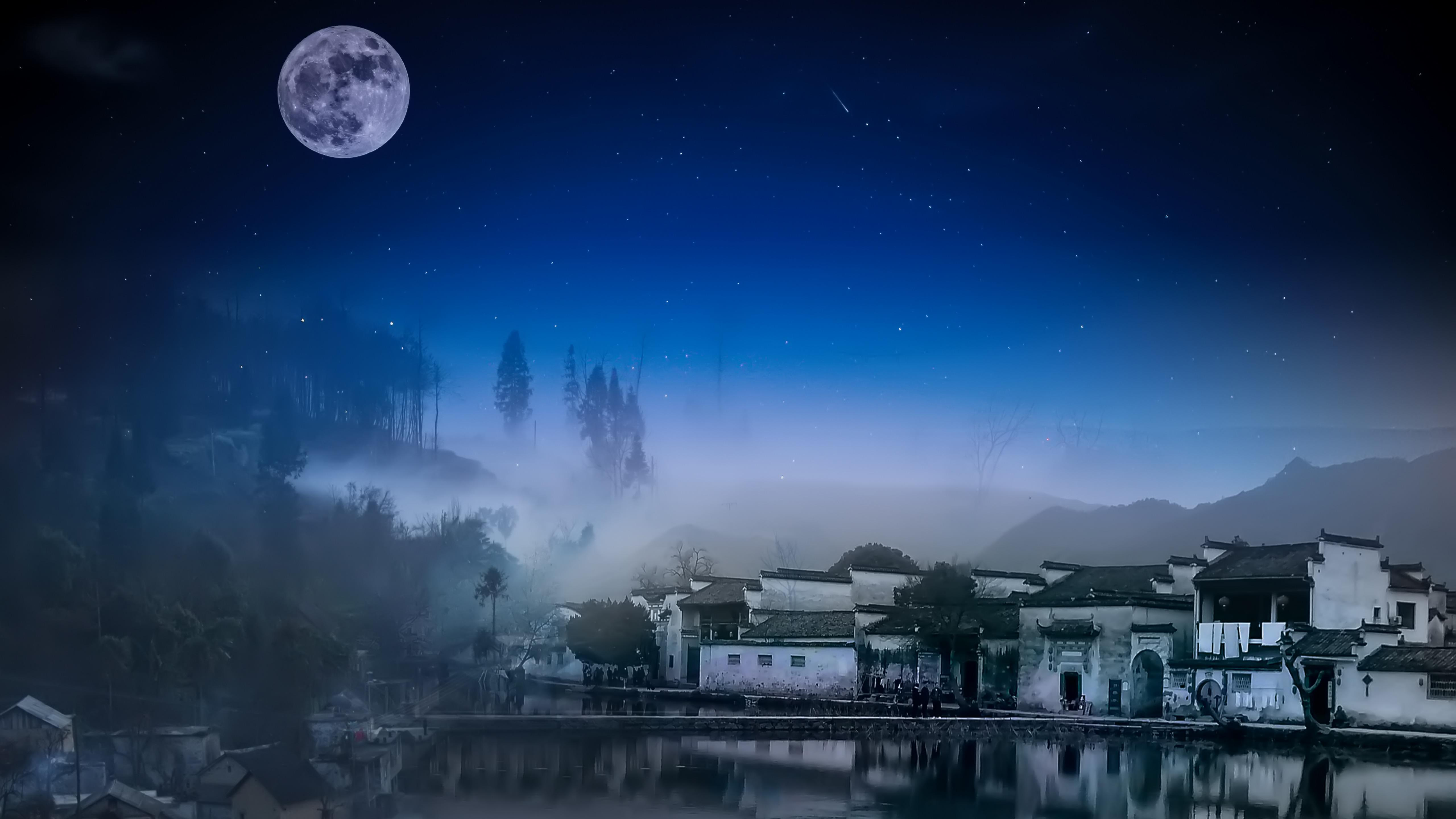 Full moon over Yi County wallpaper