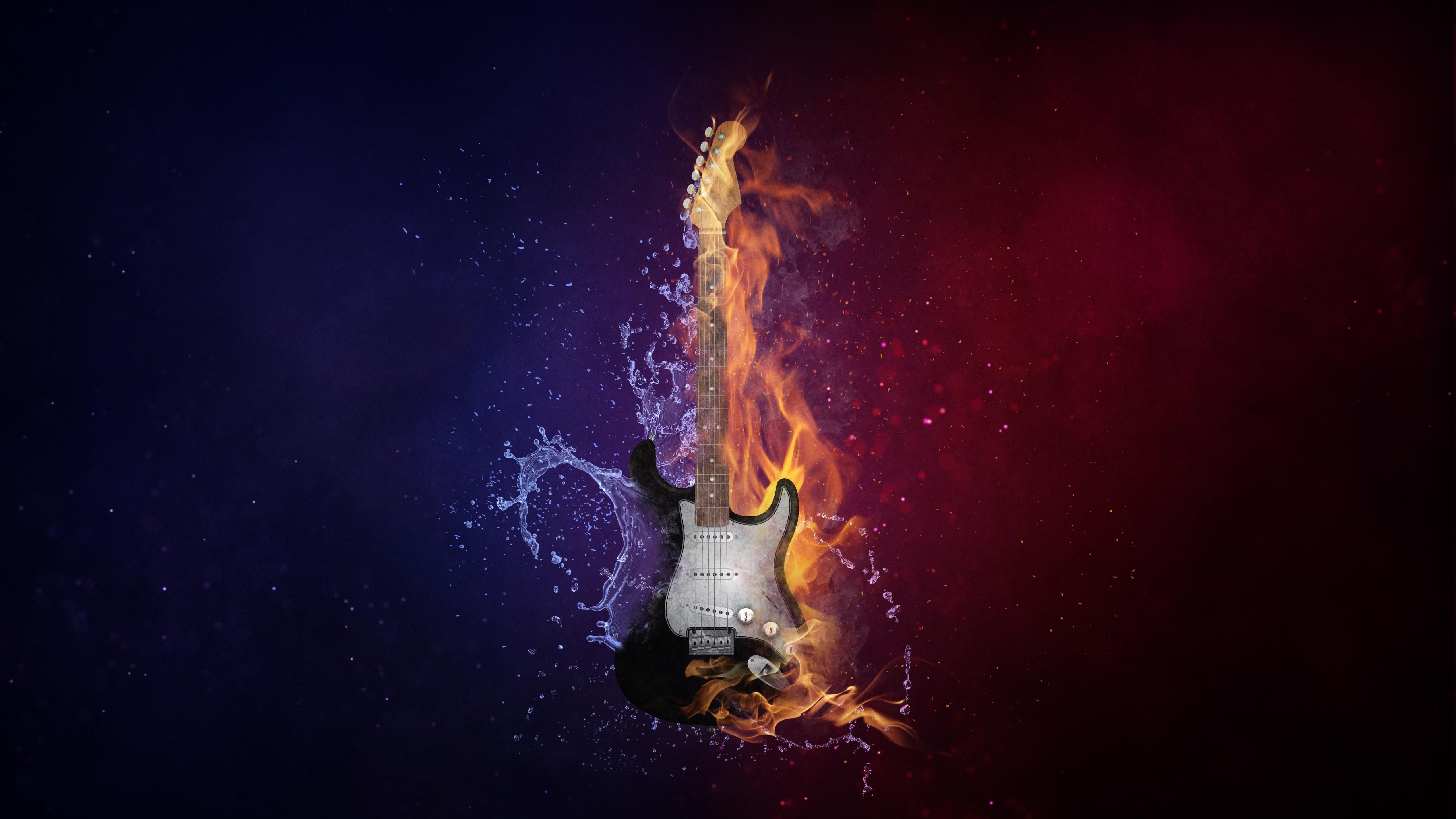 Guitar in water & fire wallpaper - backiee