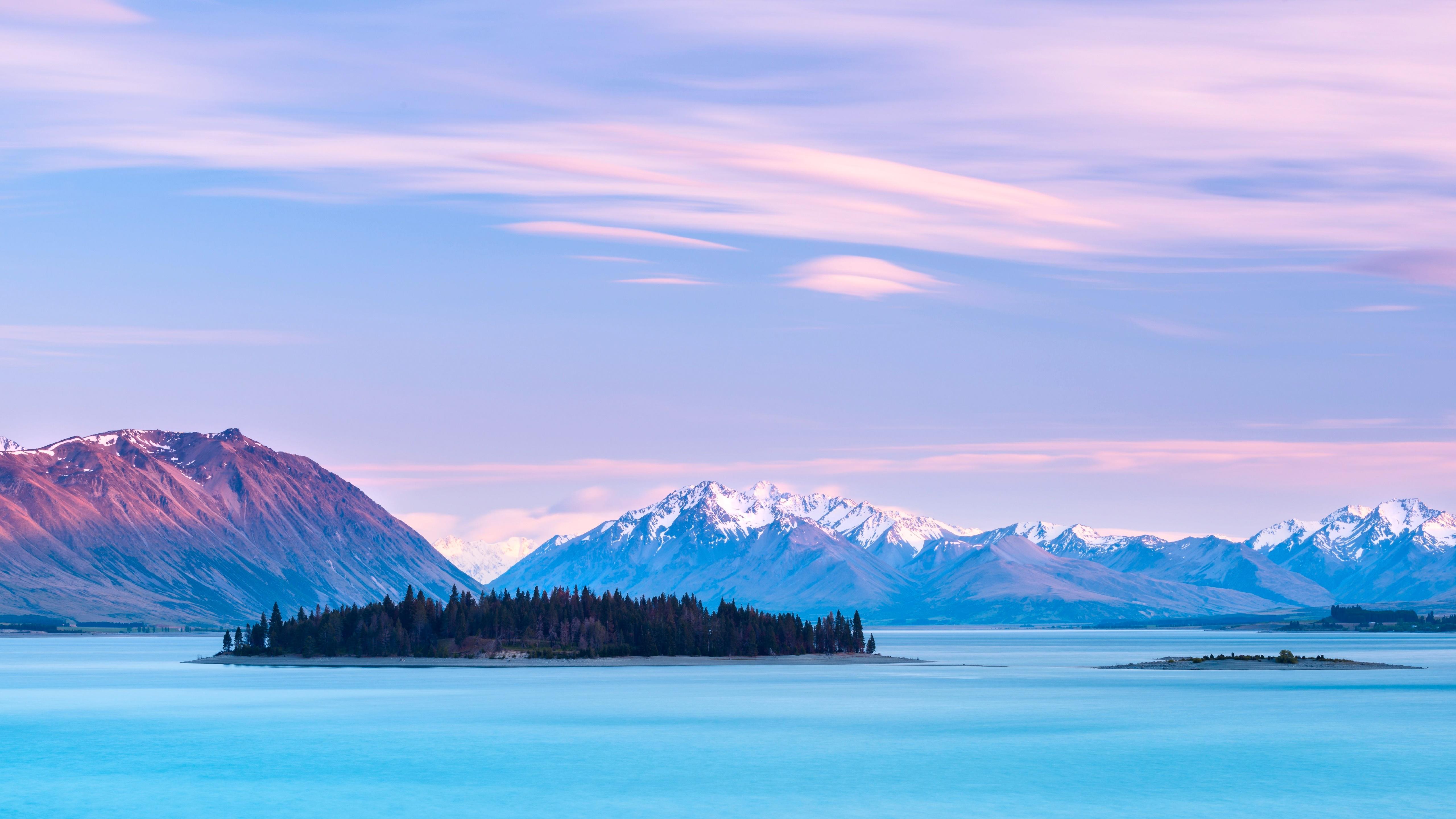 Motuariki Island on Lake Tekapo (New Zealand) wallpaper