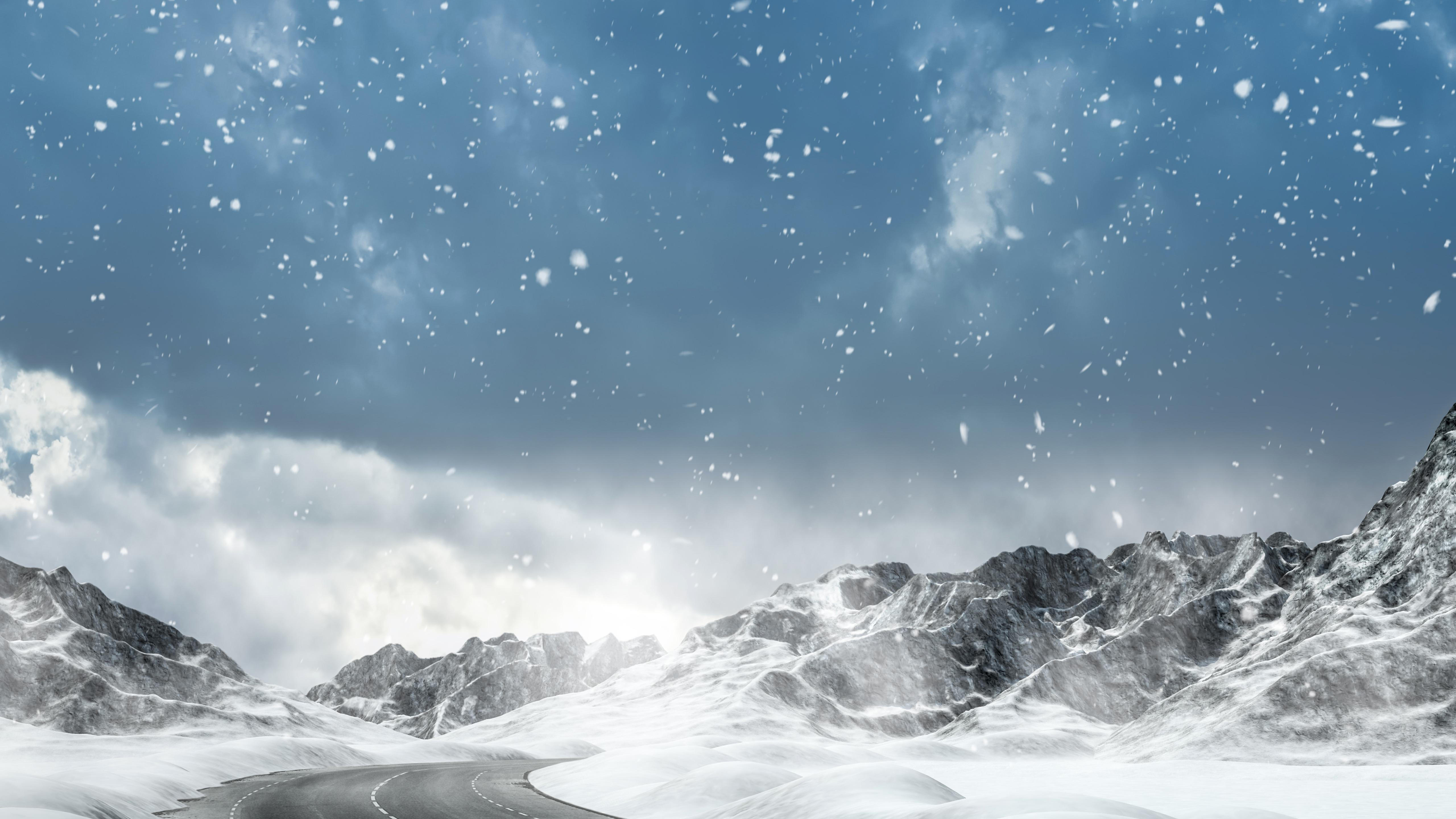 Winter snowfall in the mountains wallpaper