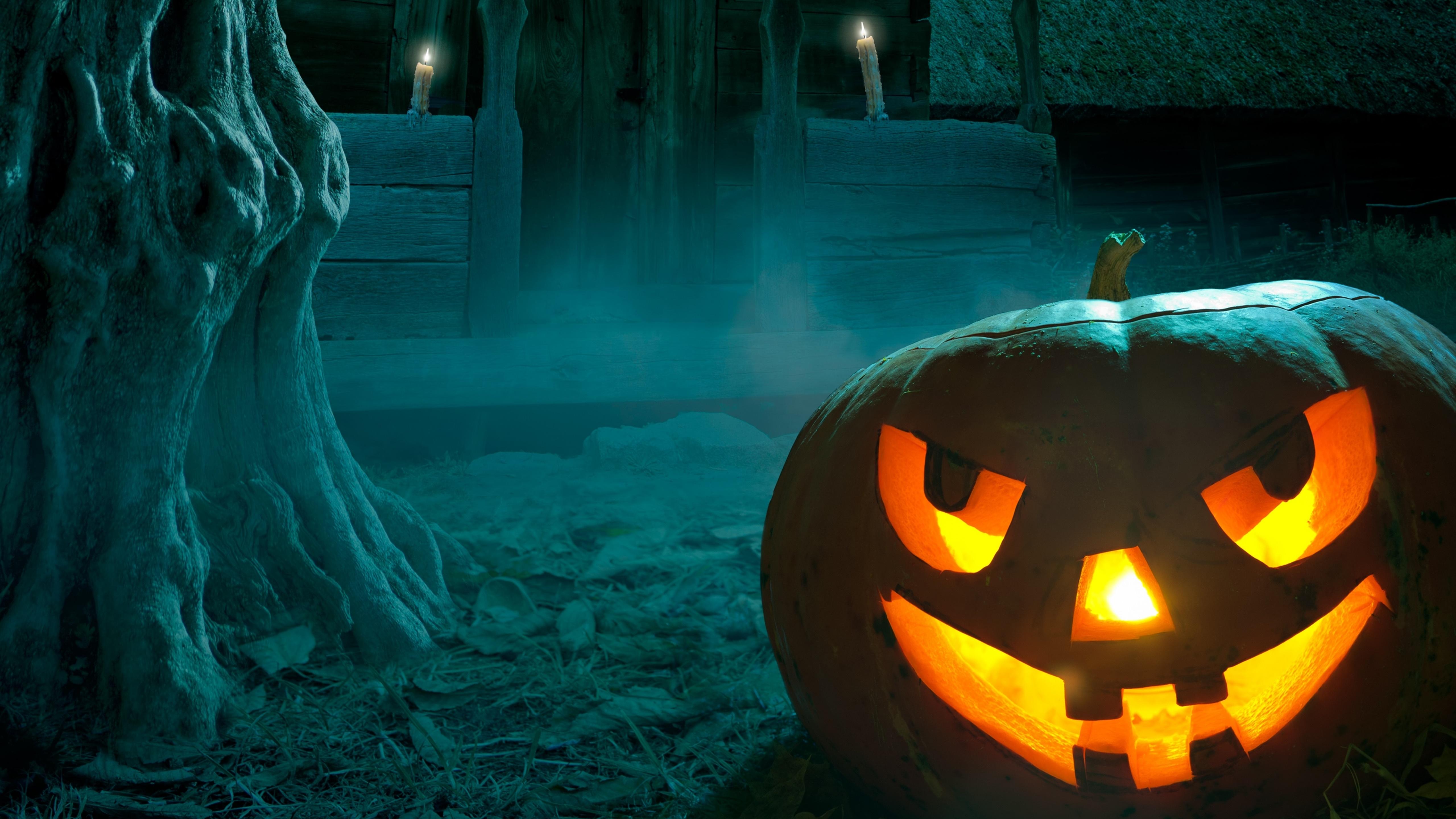 Spooky Jack O'lantern on Halloween night wallpaper