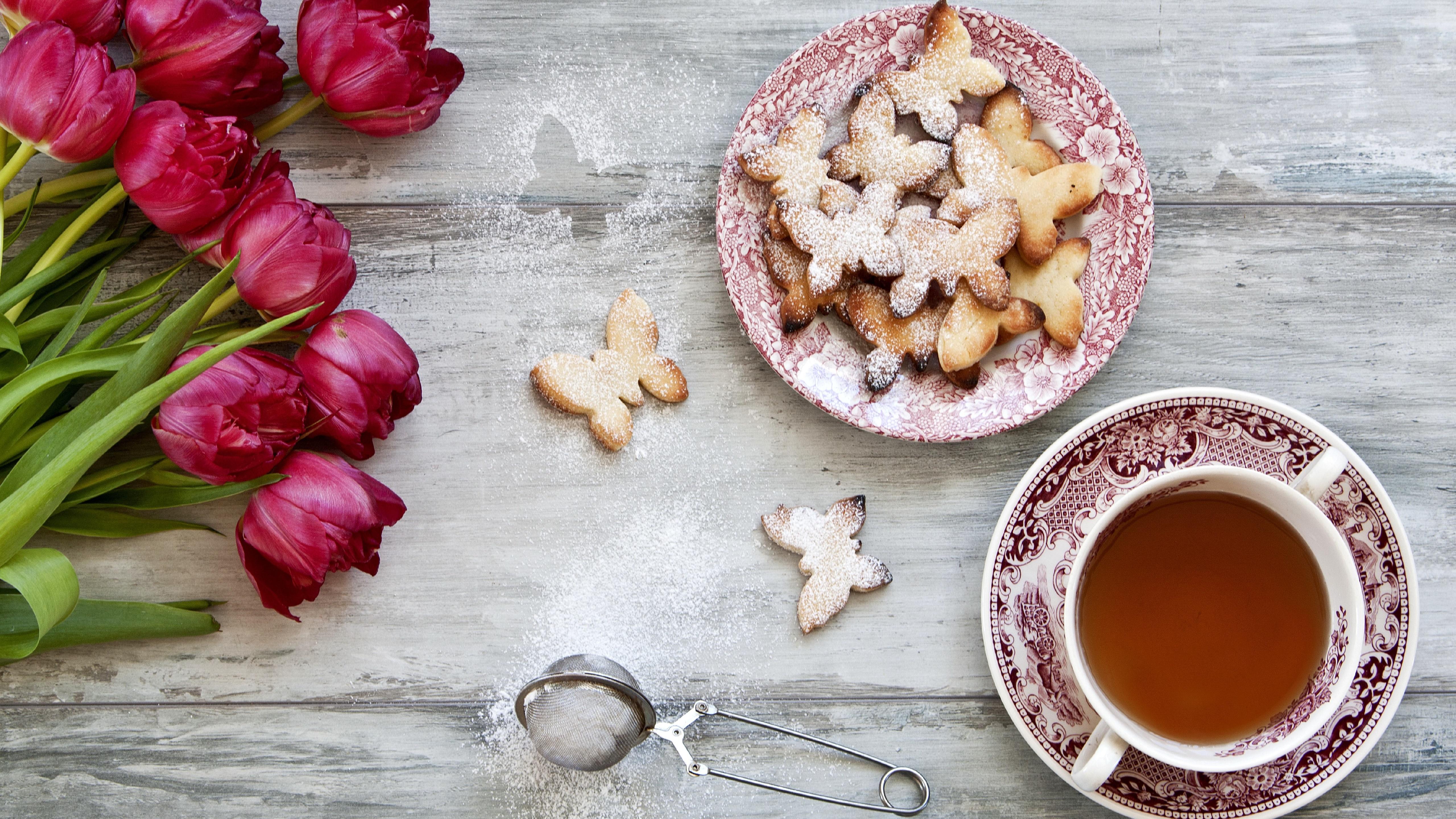 Tea with cookies wallpaper