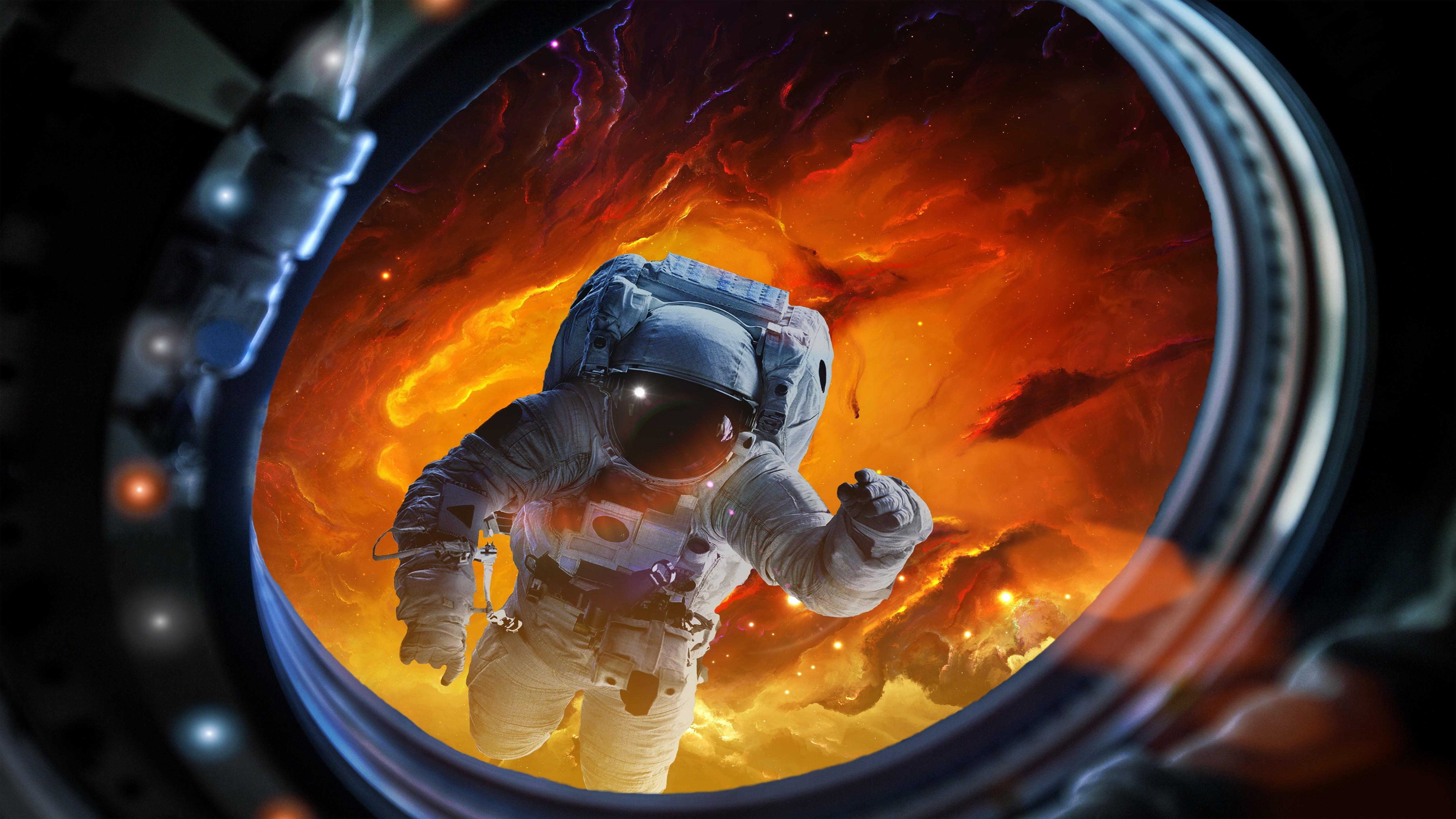 Astronaut in deep space wallpaper