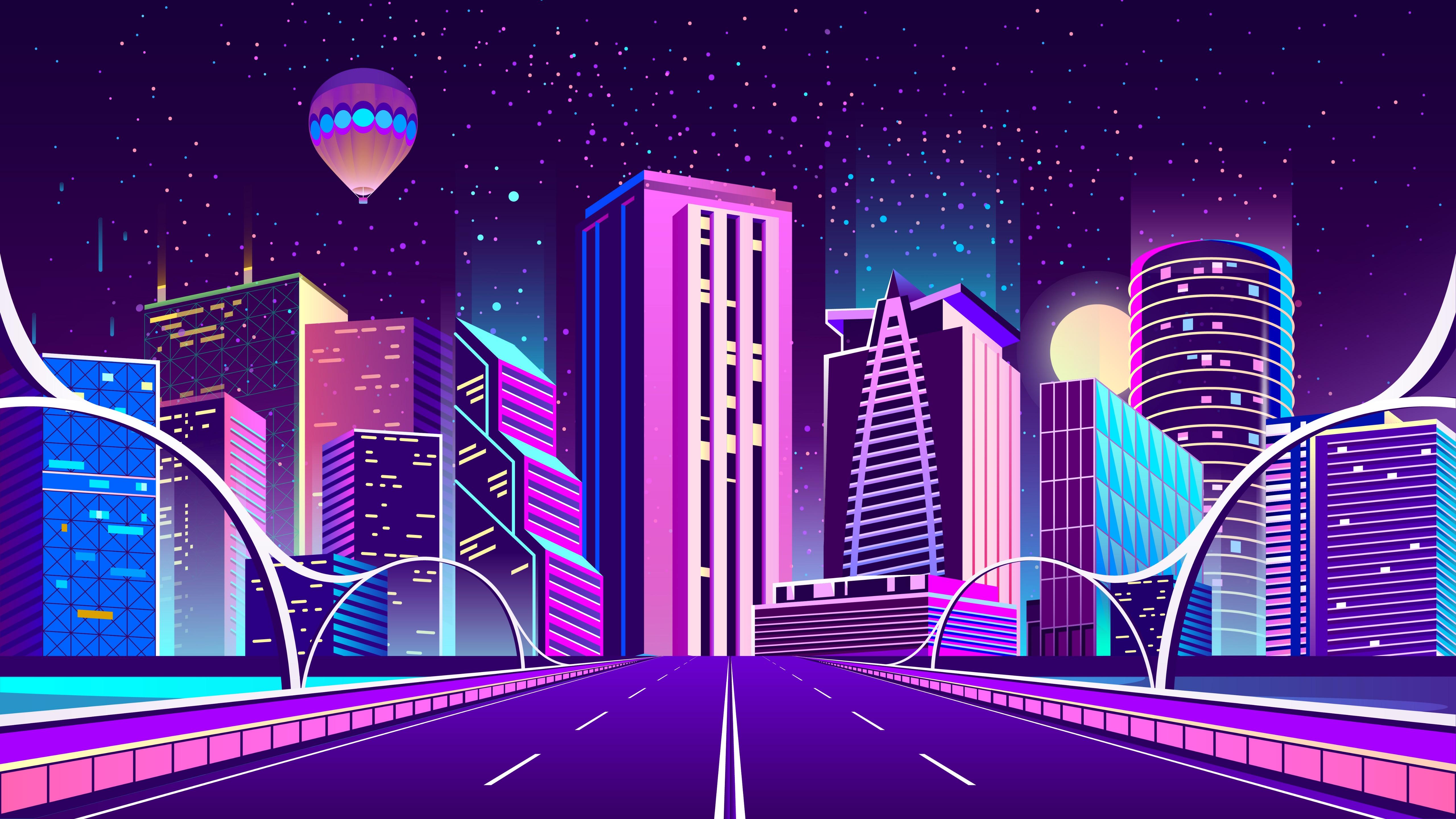 Purple metropolis digital art wallpaper