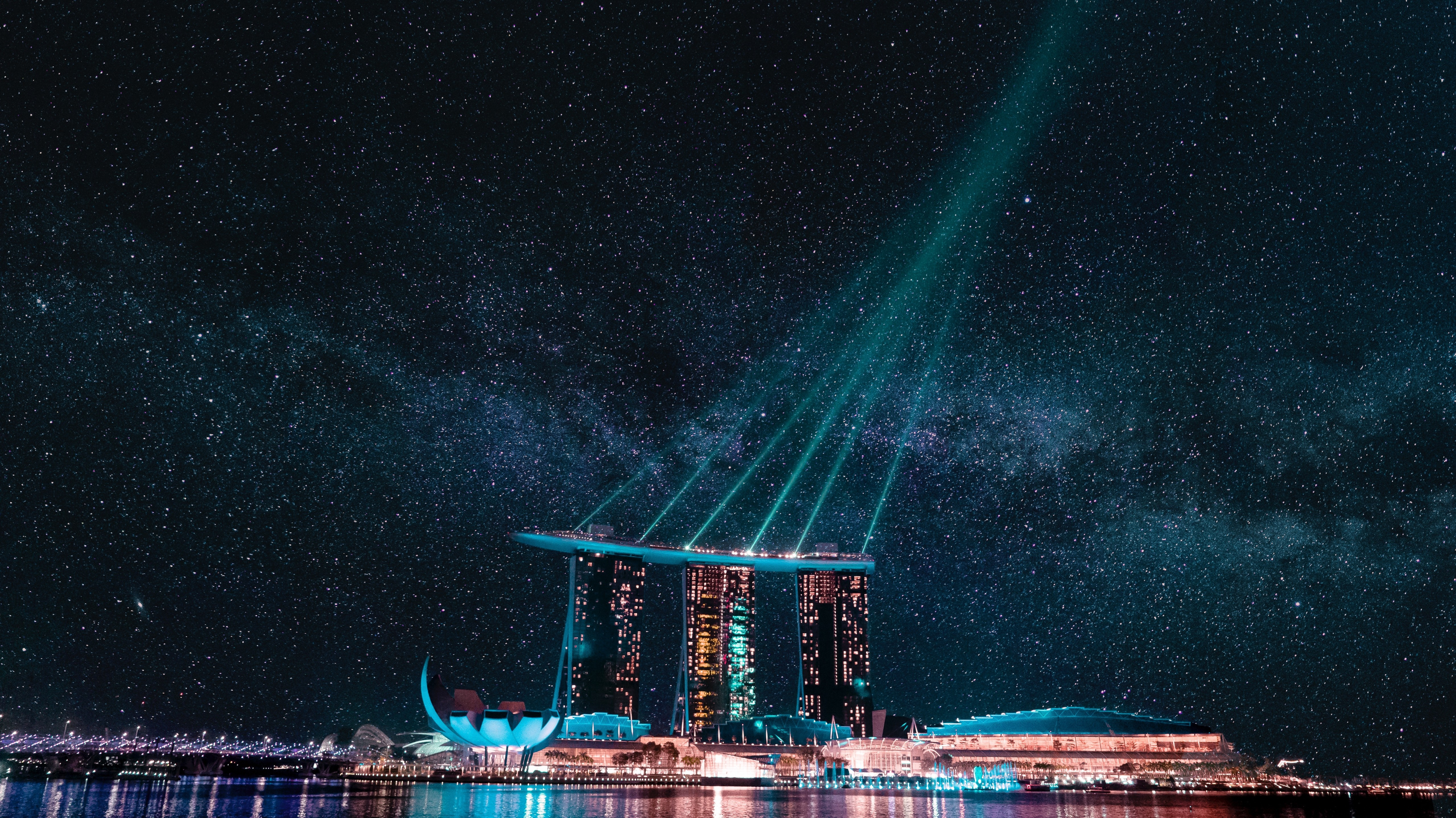 Singapore with Milky Way wallpaper