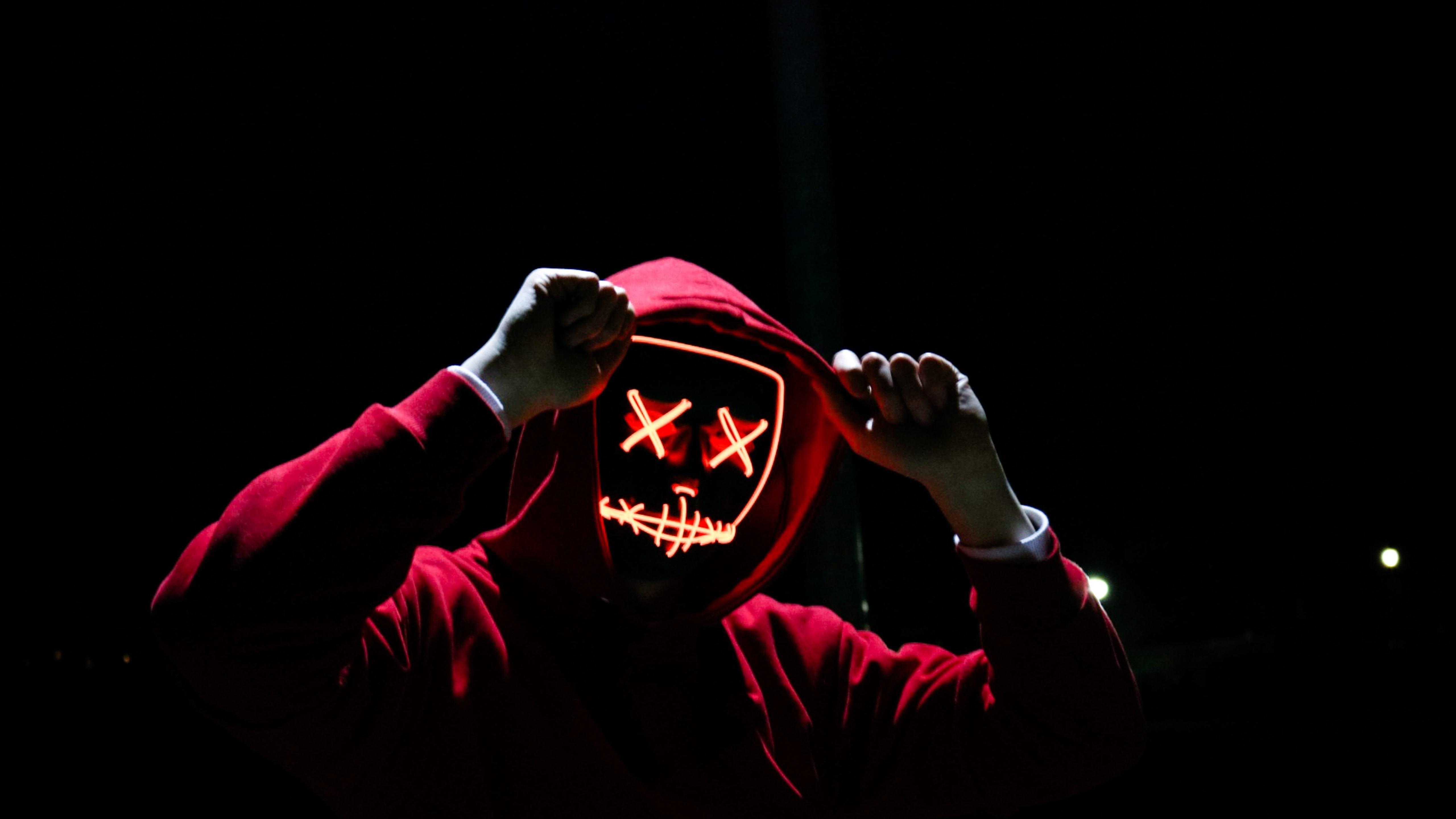 Red hoodie and red neon mask wallpaper
