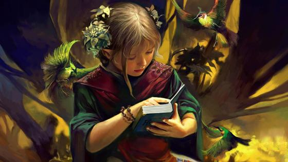 Reading girl - Fantasy art wallpaper