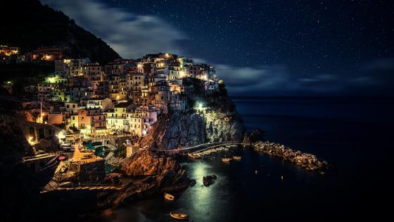 Manarola at night - Cinque Terre, Italy wallpaper