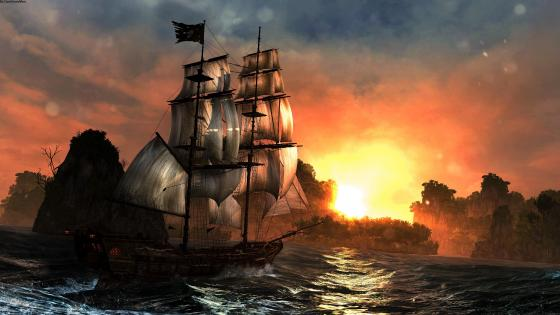 Masted sailing ship fantasy art wallpaper