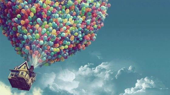 Flying House with Balloons wallpaper