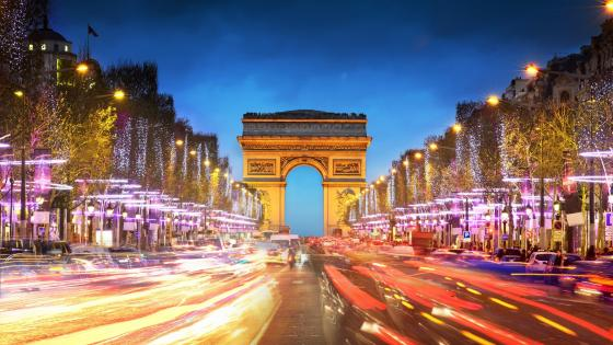 Paris street view at night wallpaper